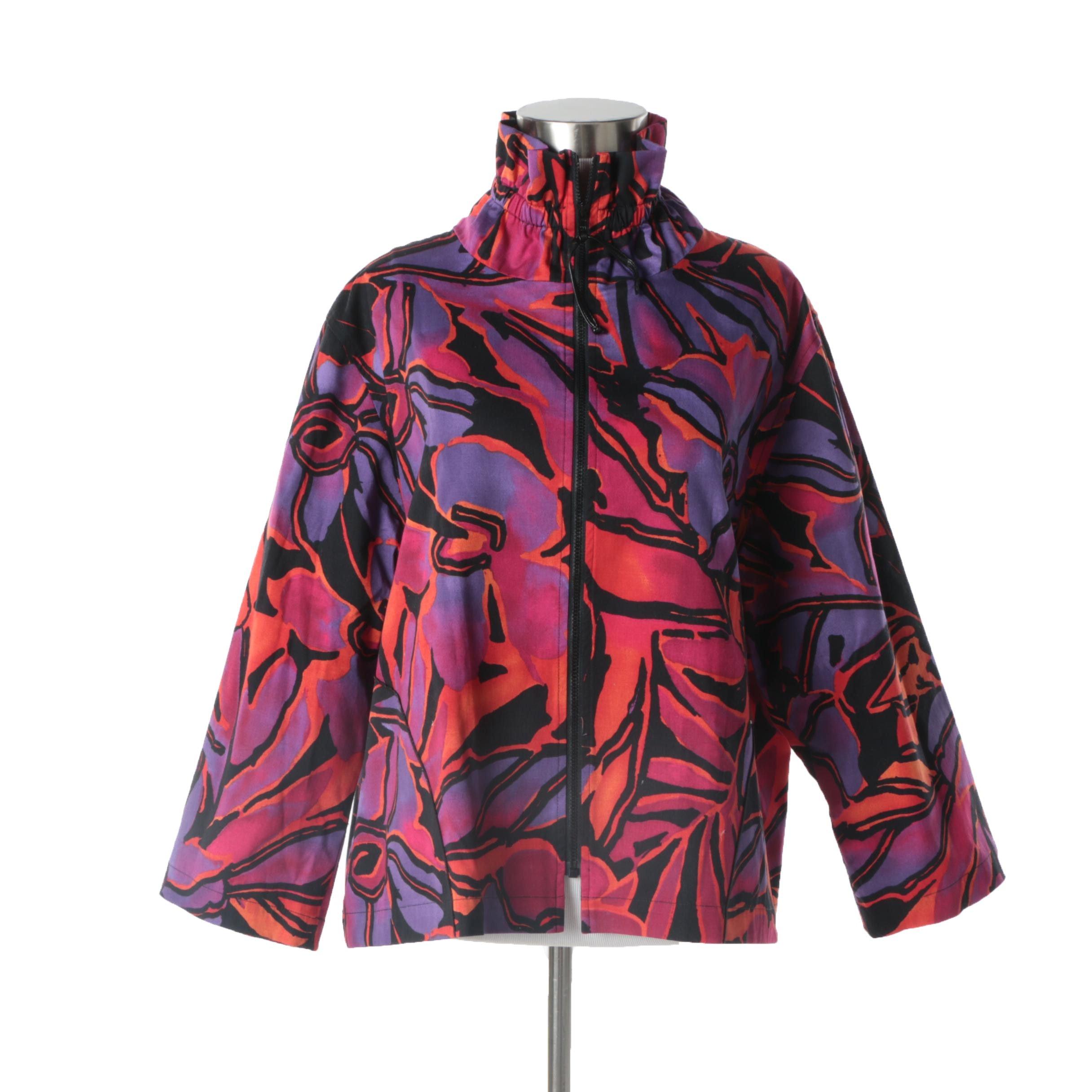 Women's Caroline Rose Floral Print Zipper-Front Jacket