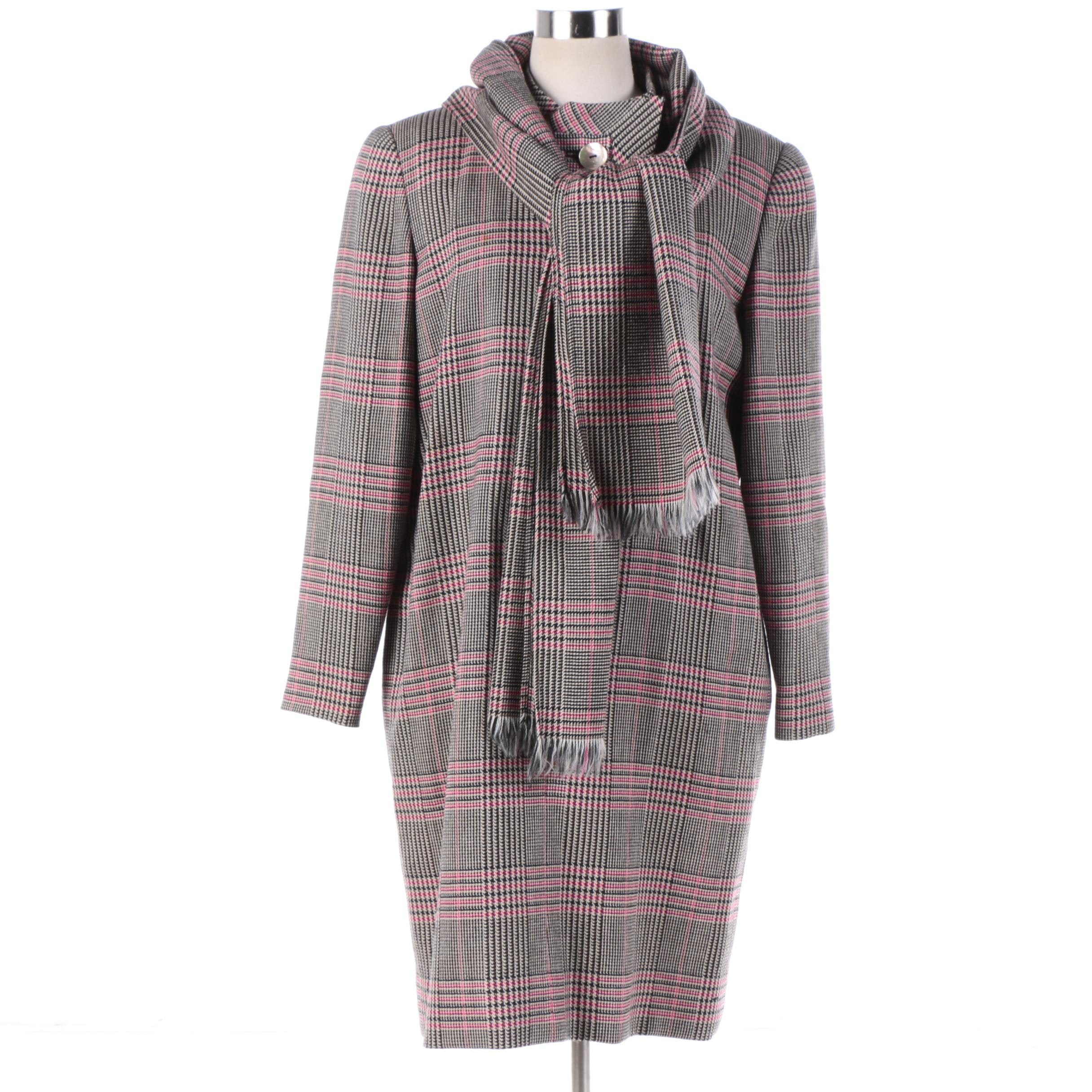 Women's Vintage David Hayes Plaid Wool Dress and Matching Scarf
