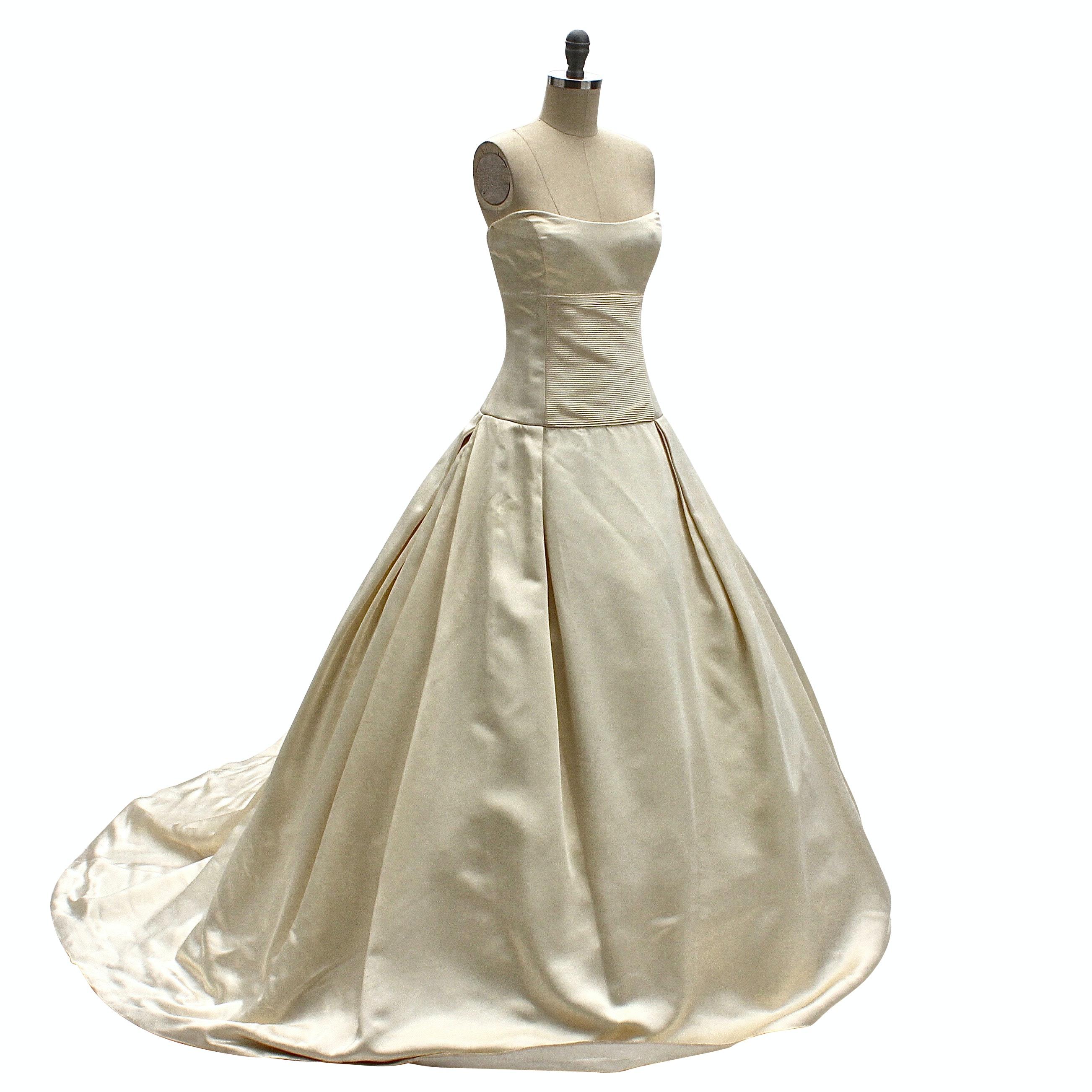 Strapless Ivory Sateen Wedding Gown
