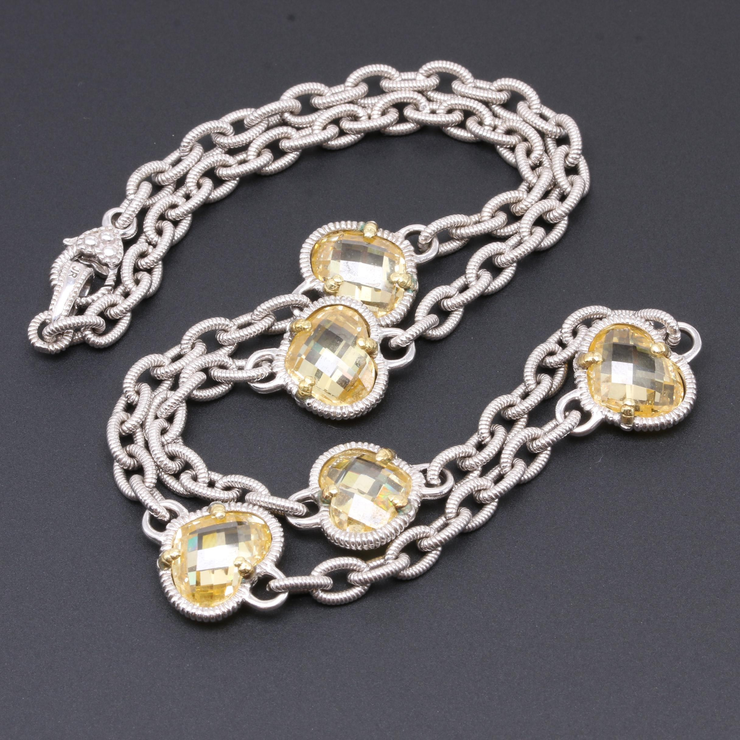 Judith Ripka Sterling Silver Cubic Zirconia Necklace with 18K Yellow Gold Accent
