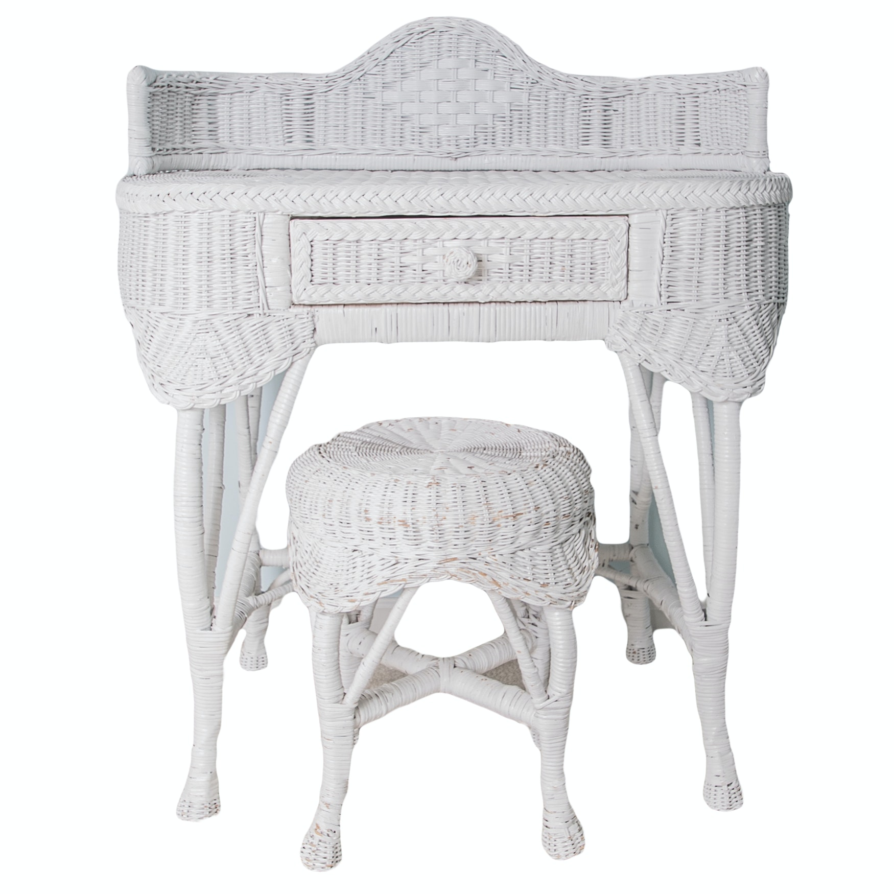 Wicker Vanity Table and Stool