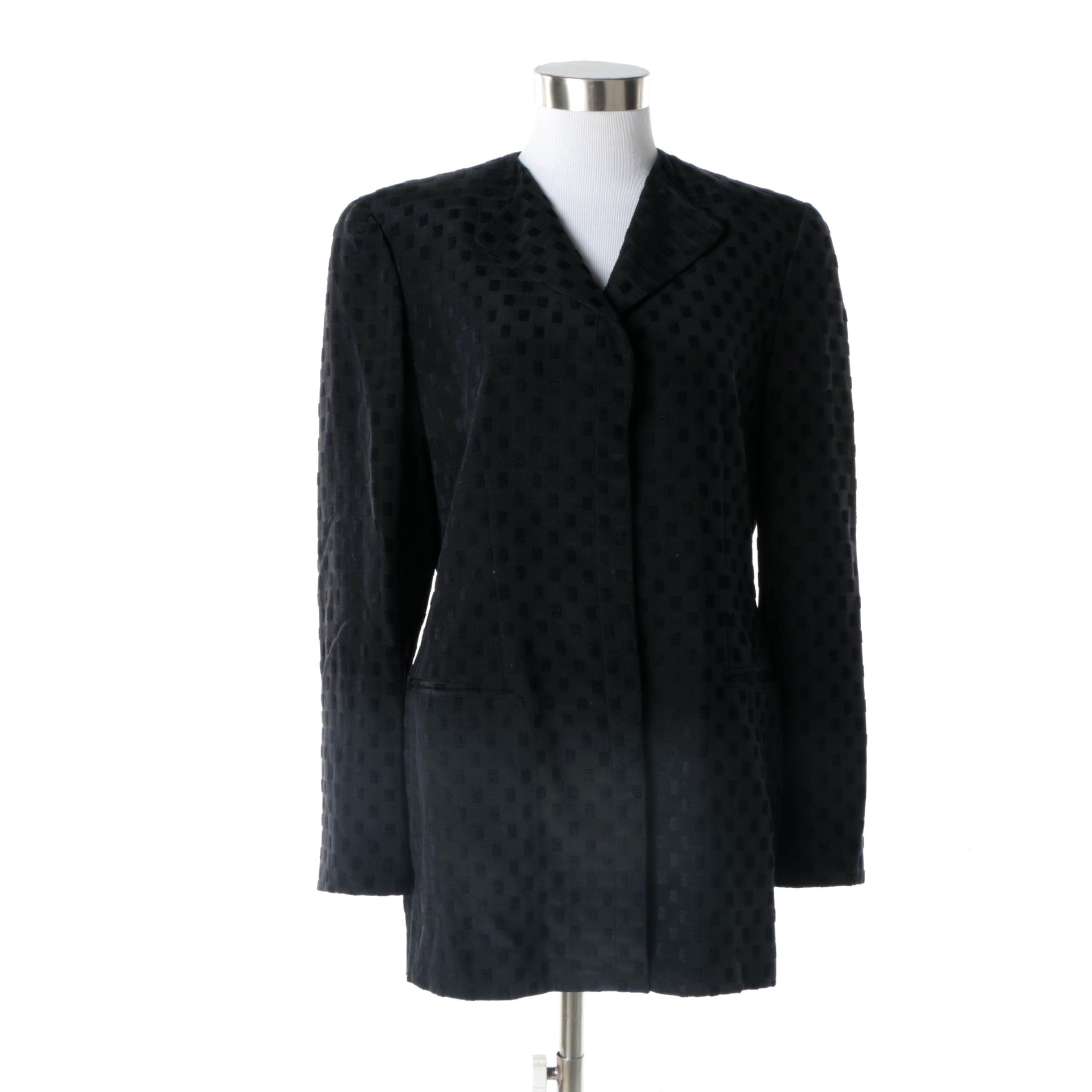 Women's Giorgio Armani Silk and Wool Blend Black Jacket