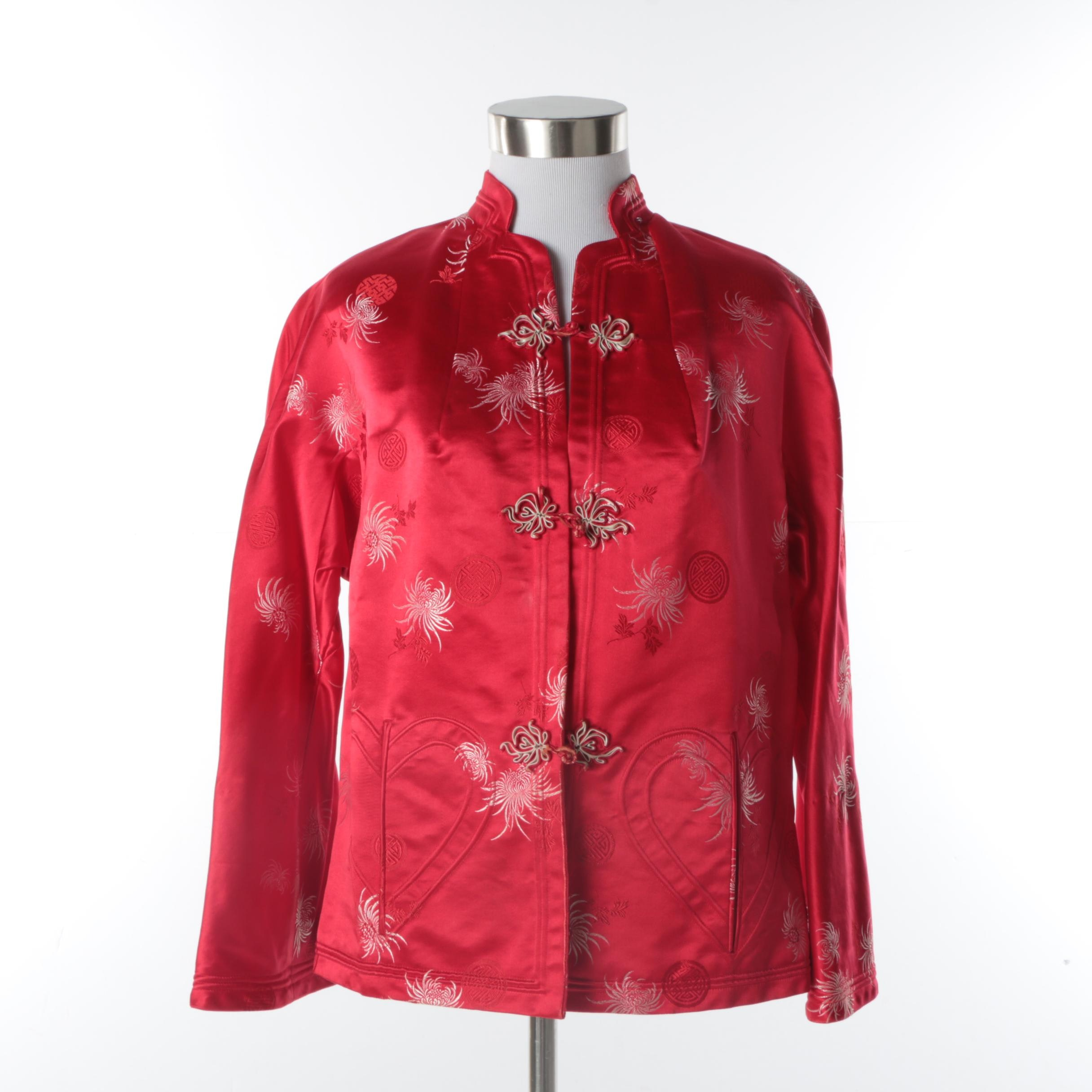 Women's Vintage Chinese Red Silk Jacket with Spider Chrysanthemum Motif