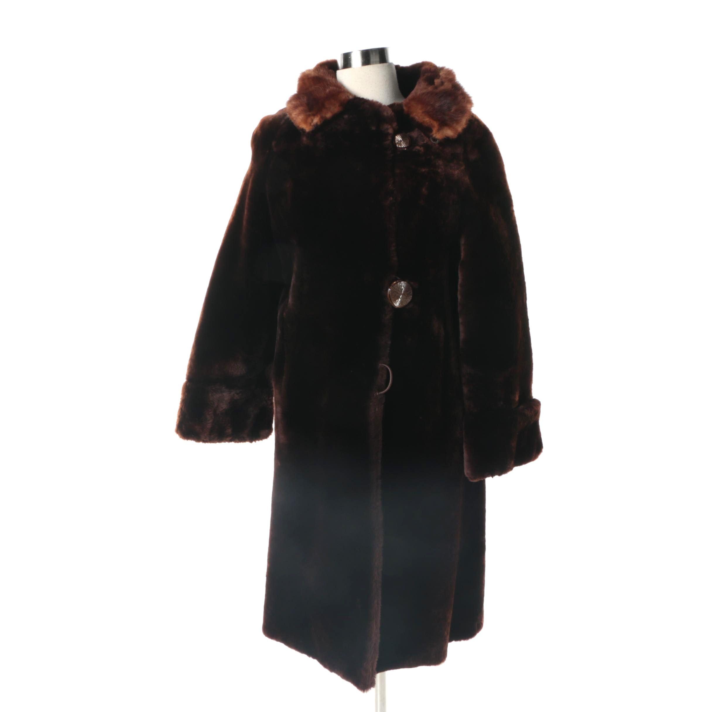 Women's Vintage Broadview Furs Mouton and Mink Fur Coat
