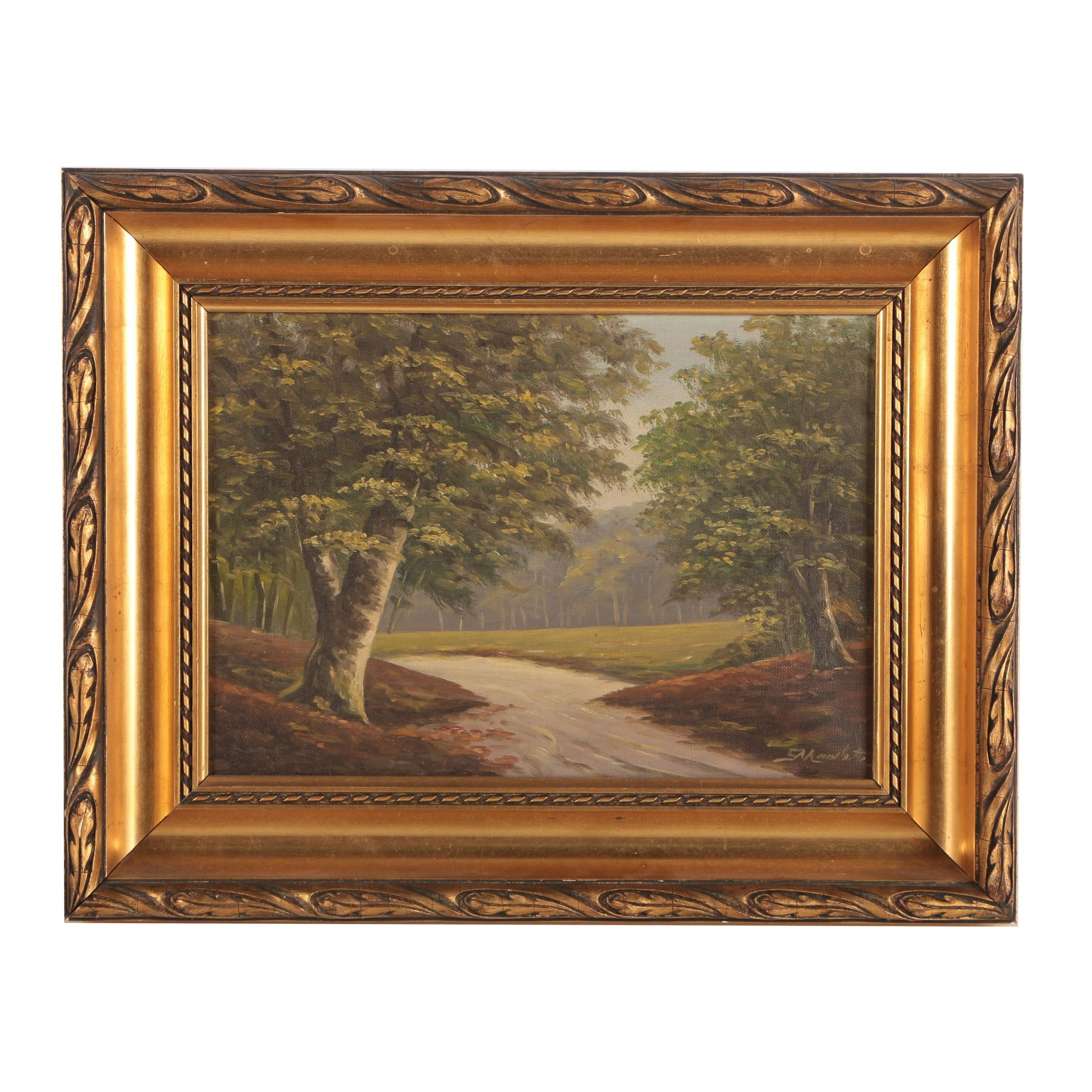Oil Painting of Path Between Trees