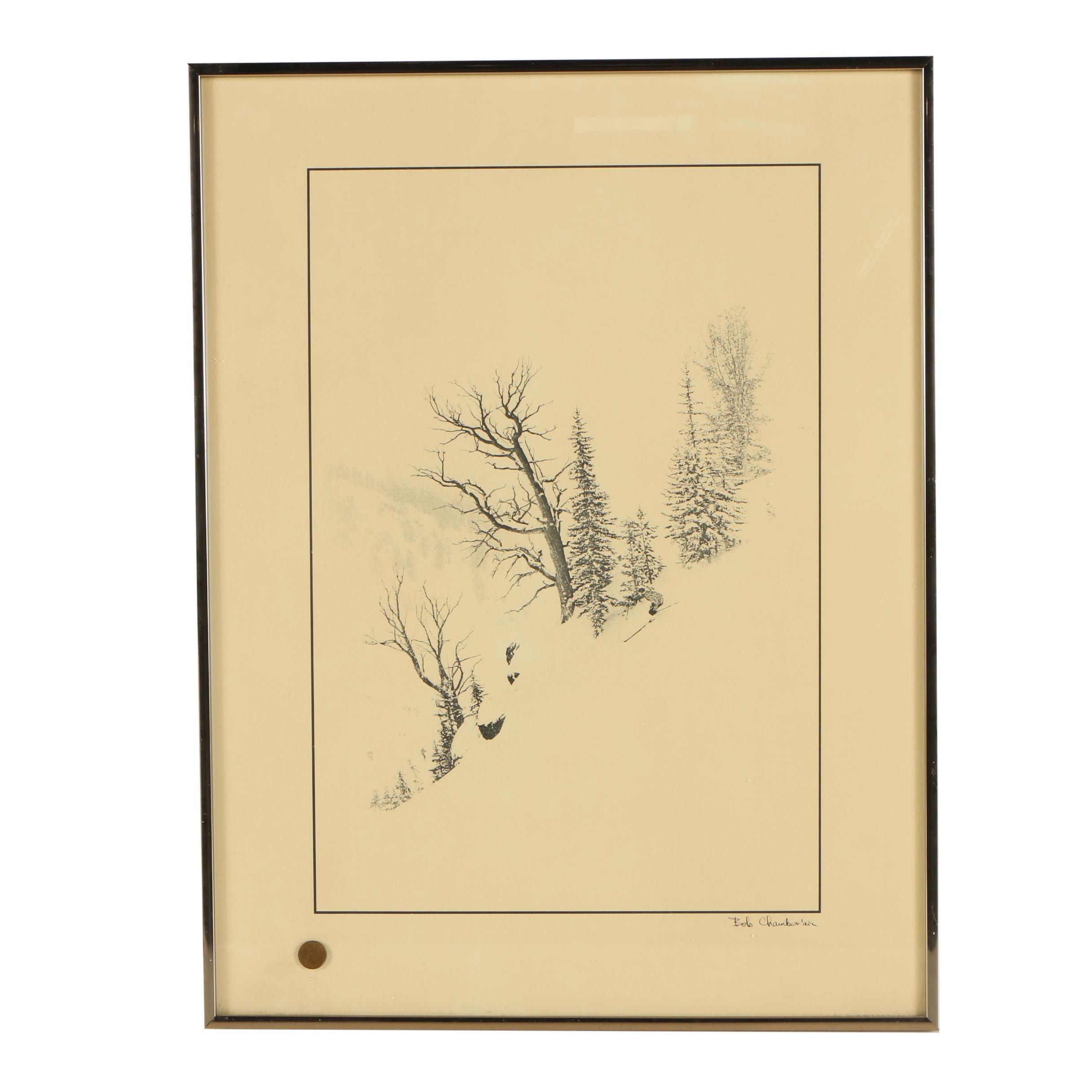 After Bob Chamberlain Halftone Print of Man Skiing