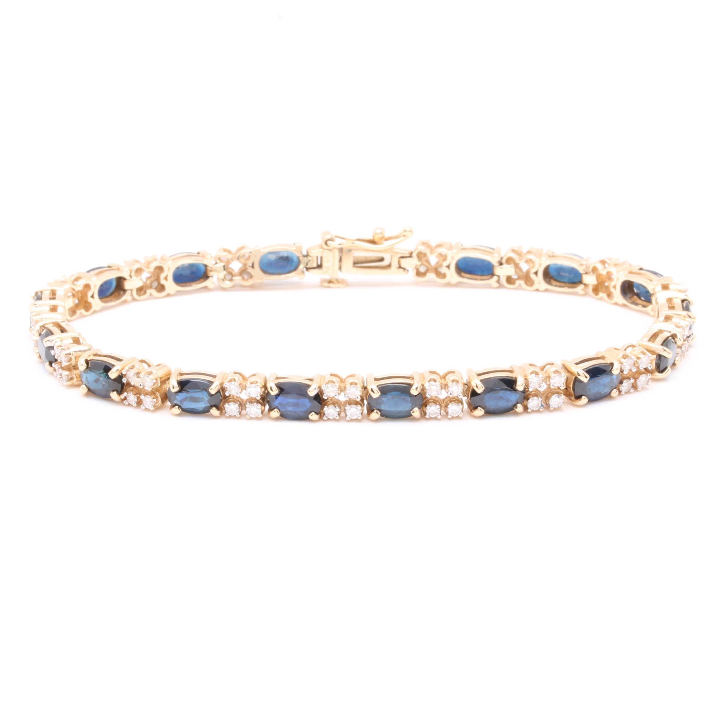 14K Yellow Gold Blue Sapphire and 1.20 CTW Diamond Bracelet