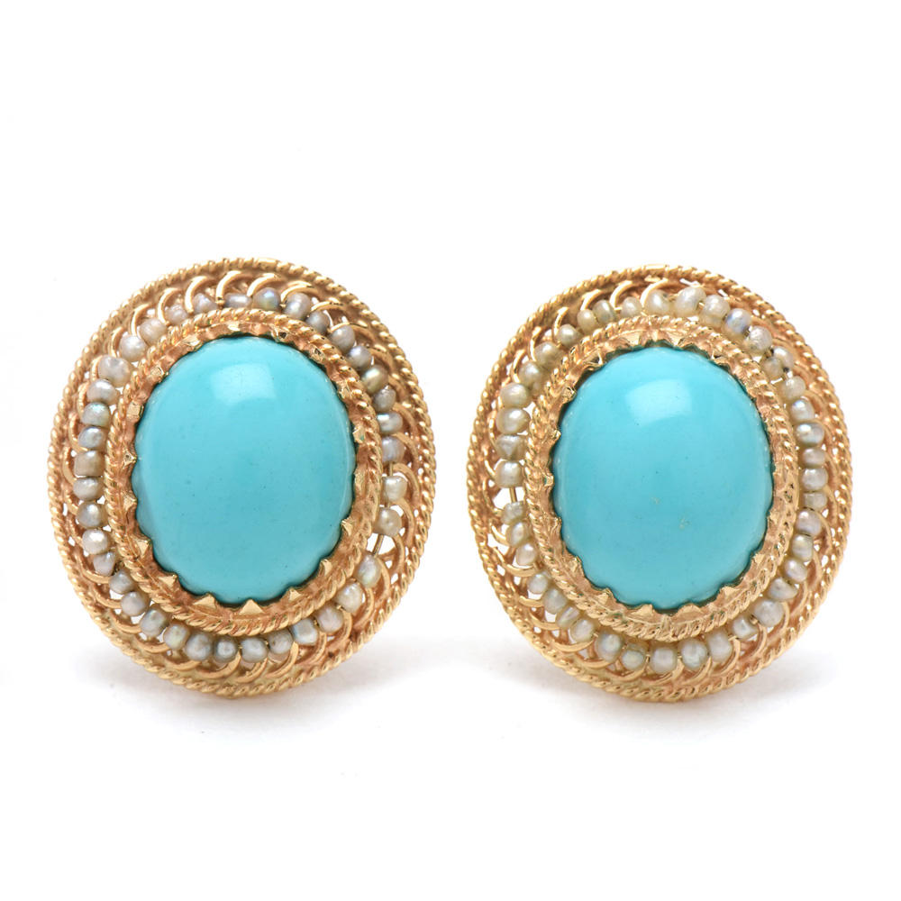 14K Yellow Gold Turquoise and Seed Pearl Clip Back Earrings EBTH