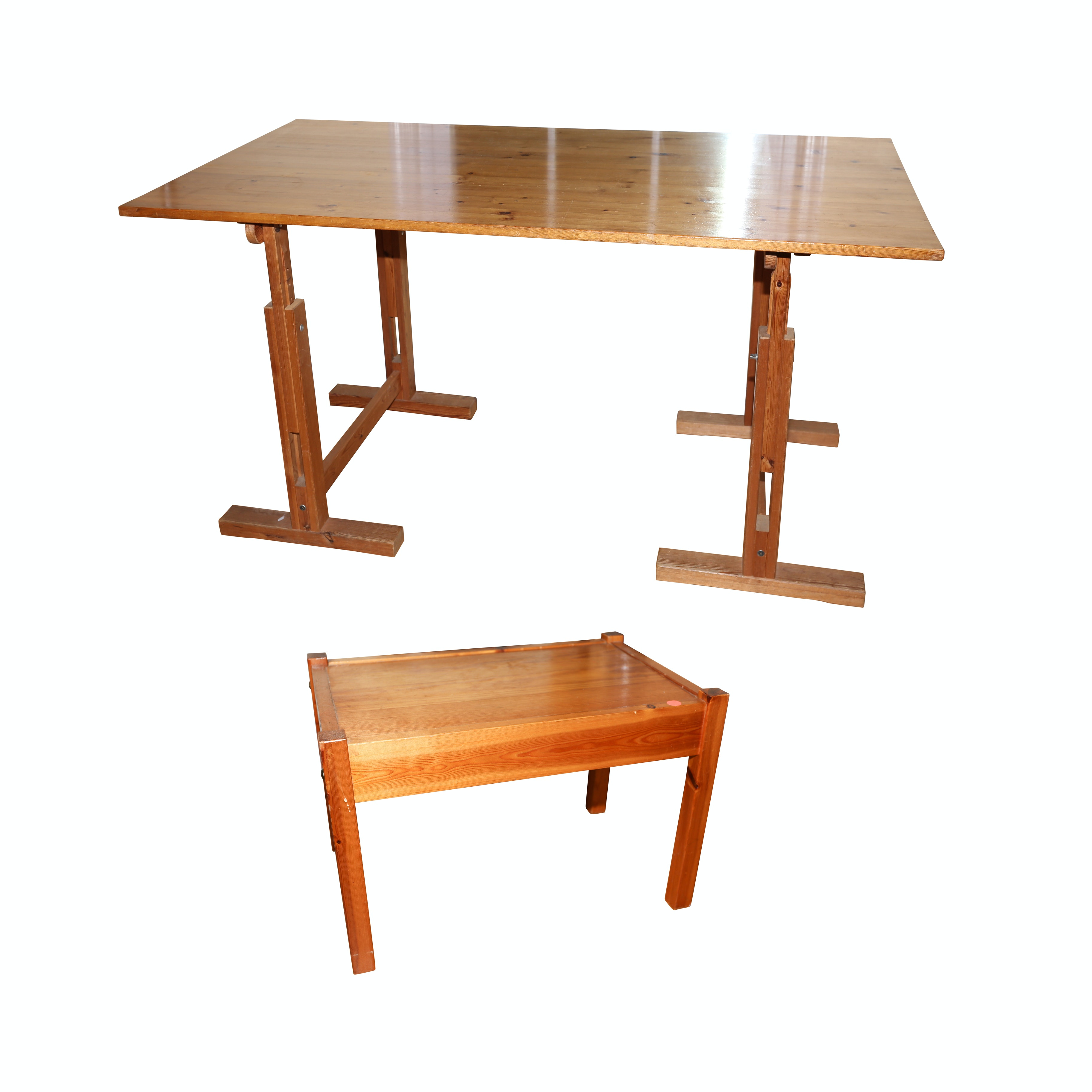 Adjustable Height Pine Desk and Side Table