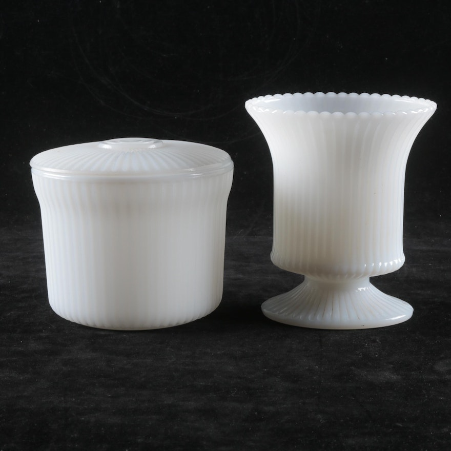 Eo Brody Co Reeded Milk Glass Vase With Covered Dish Ebth