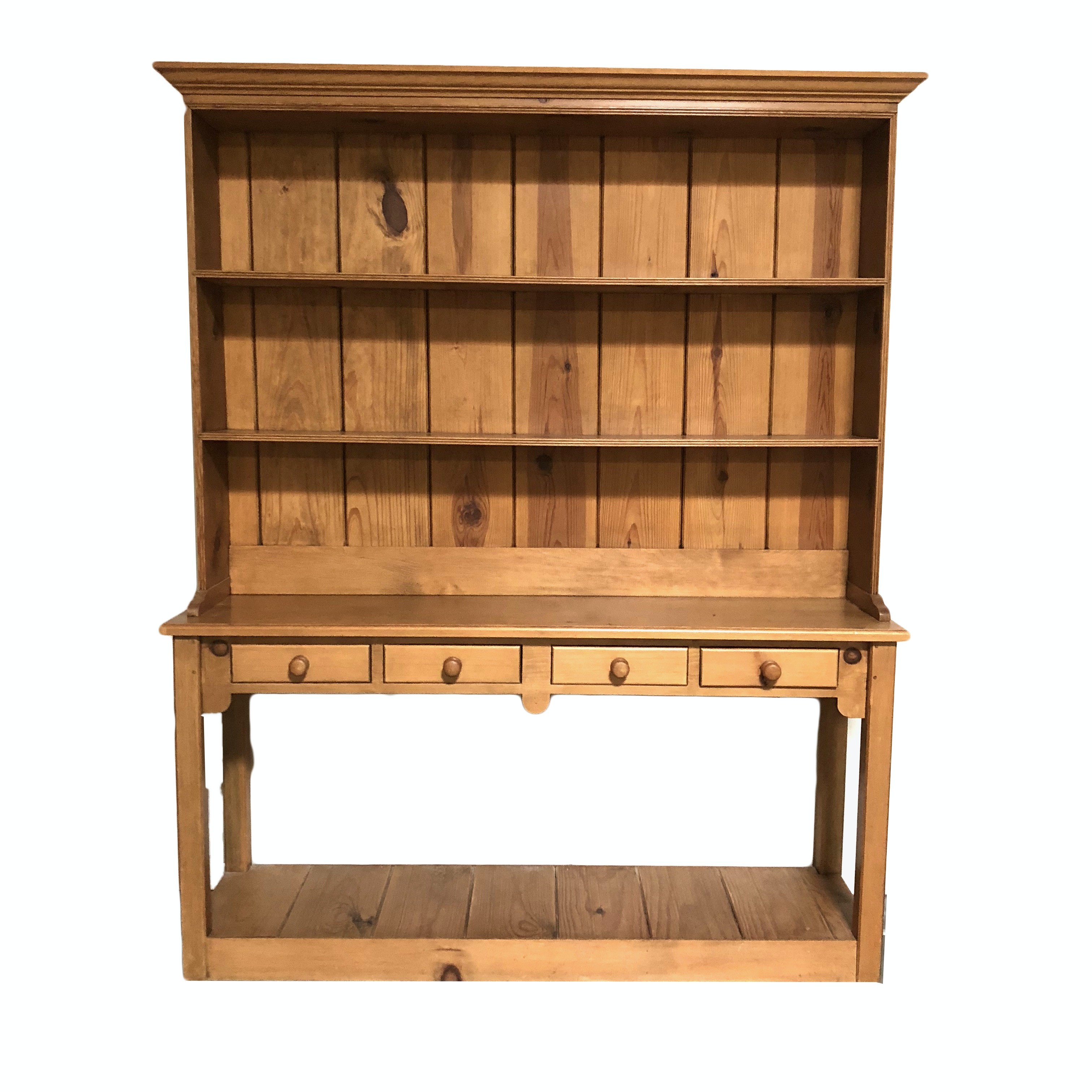 Large Pine Table and Hutch