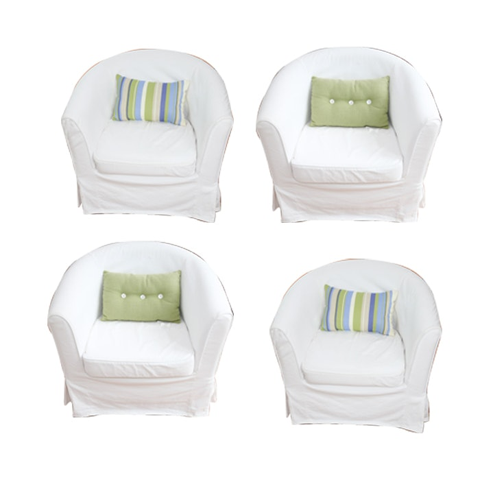 Contemporary Upholstered Armchairs with White Slip Covers