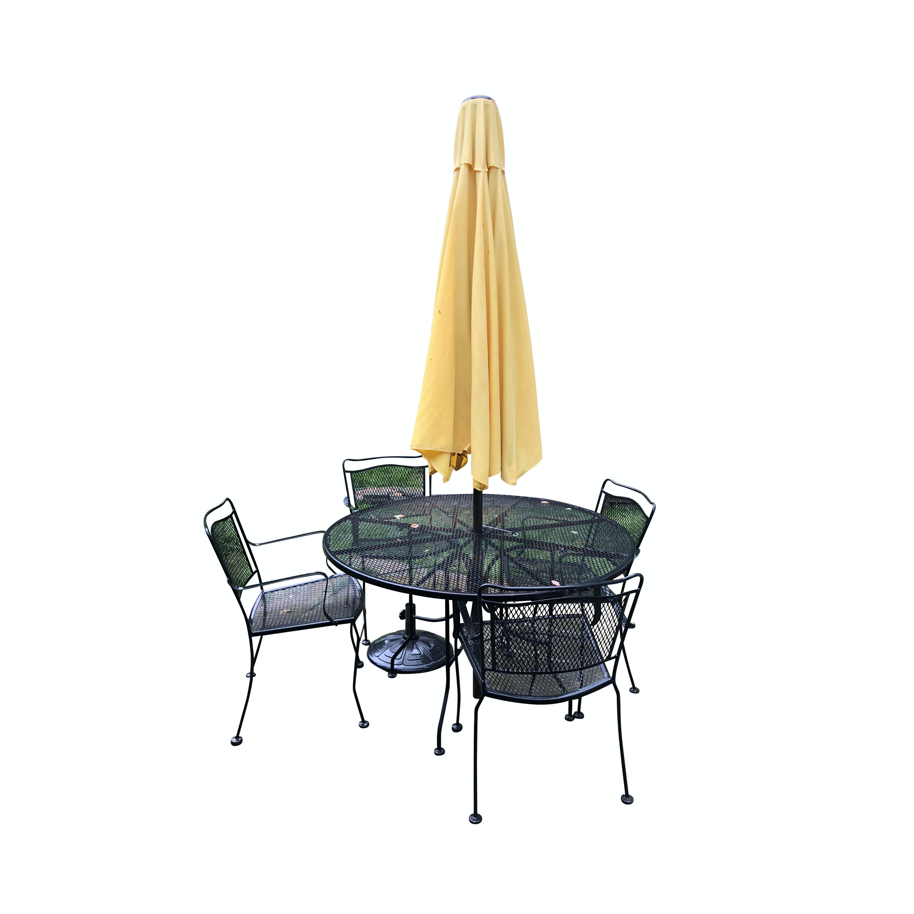Metal Patio Dining Table with Umbrella and Chairs