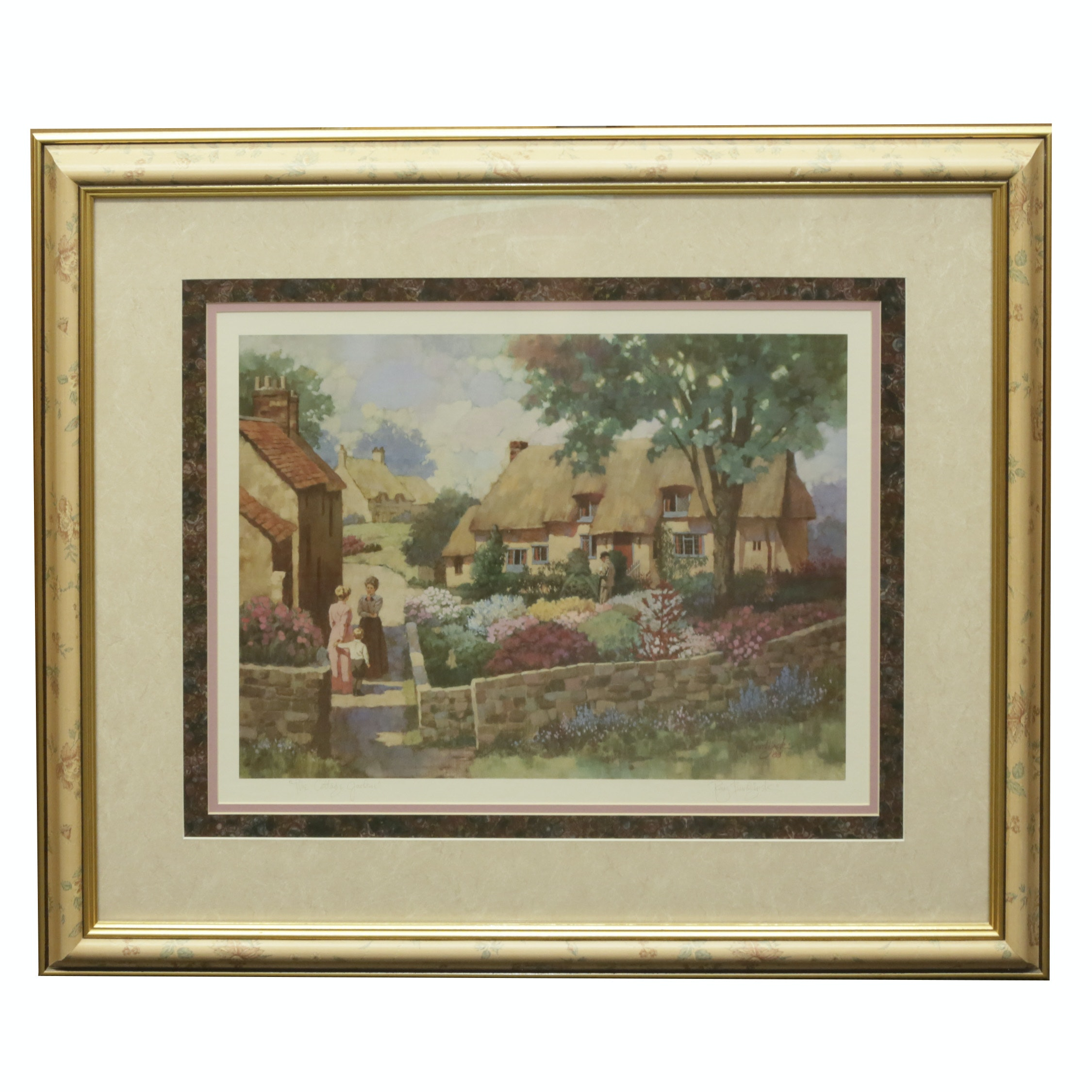 "Ray Burdzinski Offset Lithograph ""The Cottage Garden"""