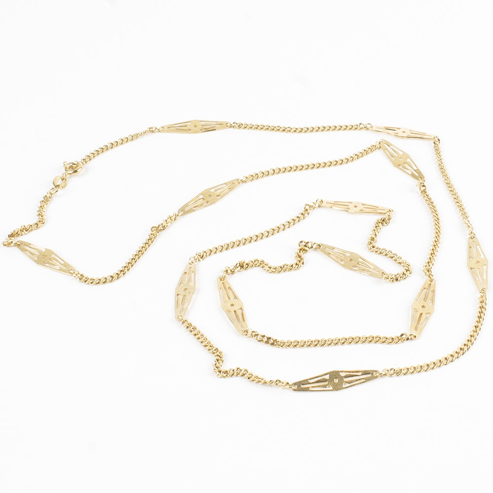 18K Yellow Gold Fancy Link Chain Necklace
