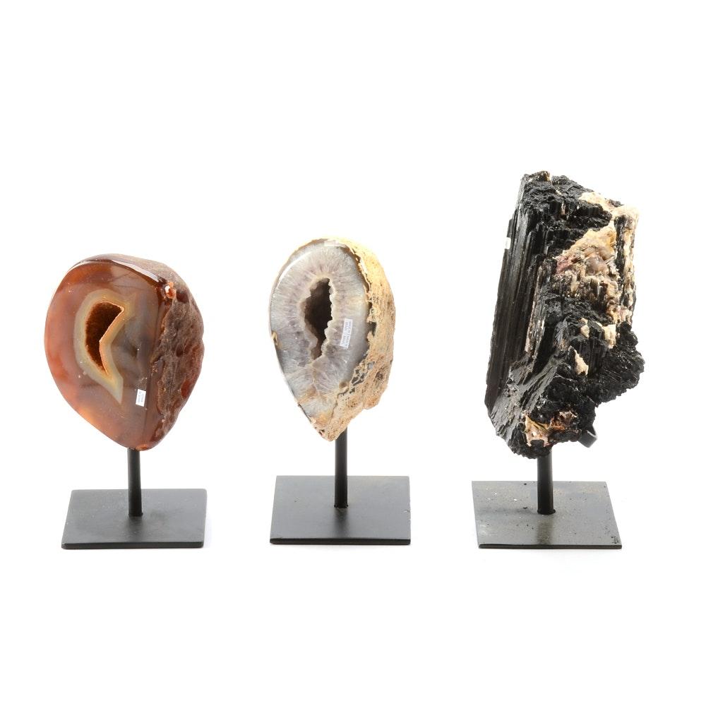 Three Cabinet Display Mineral Specimens