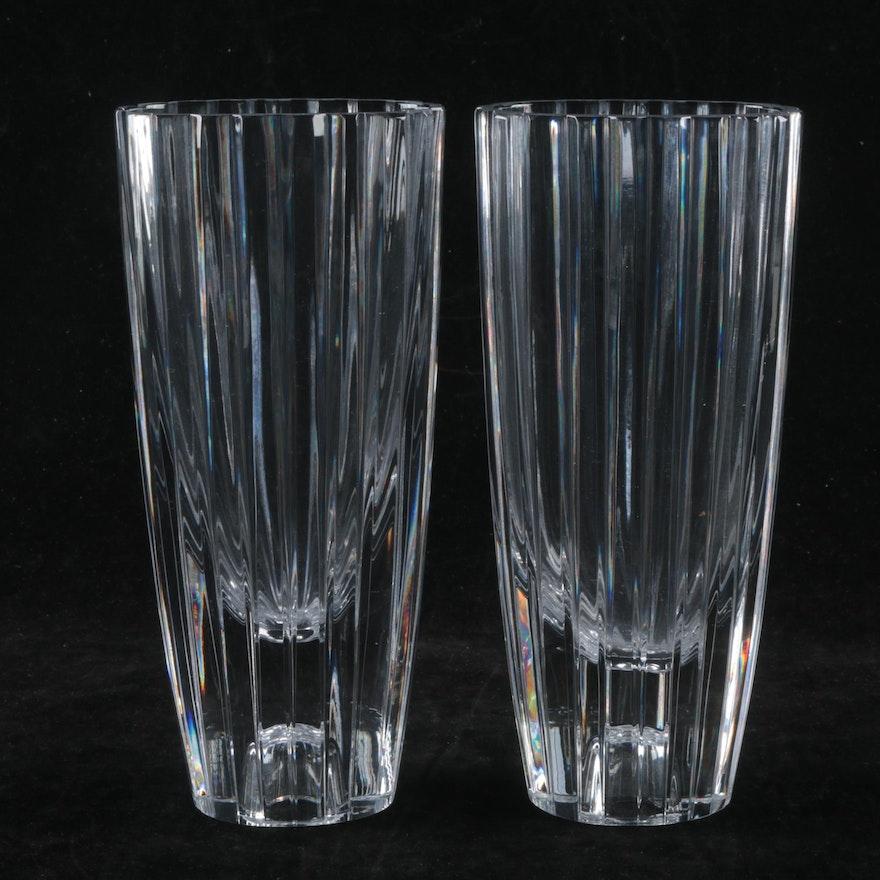 Atlantis Crystal Ribbed Vases Ebth