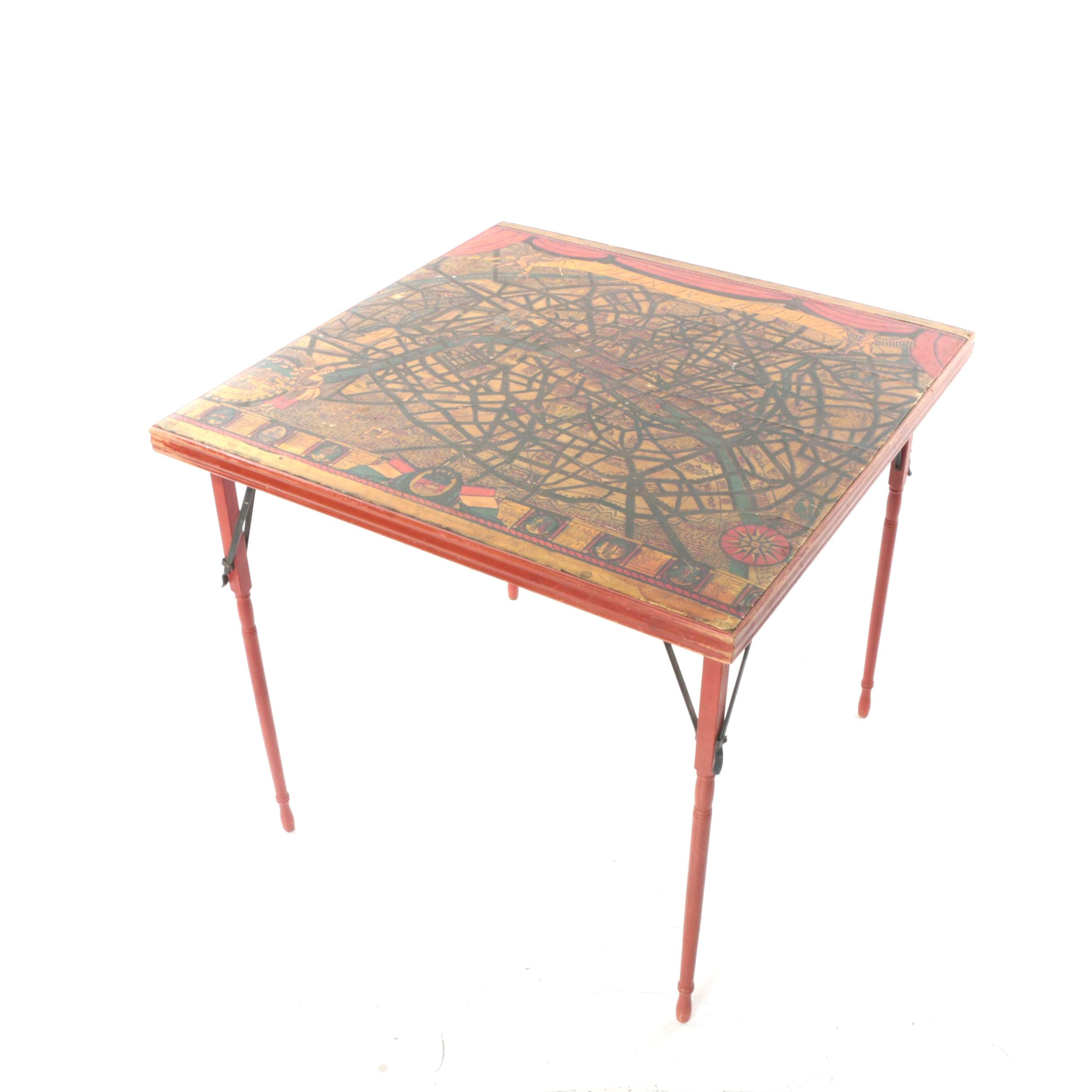 Vintage Painted Parisian Motif Folding Table by Ferguson Brothers Manufacturing