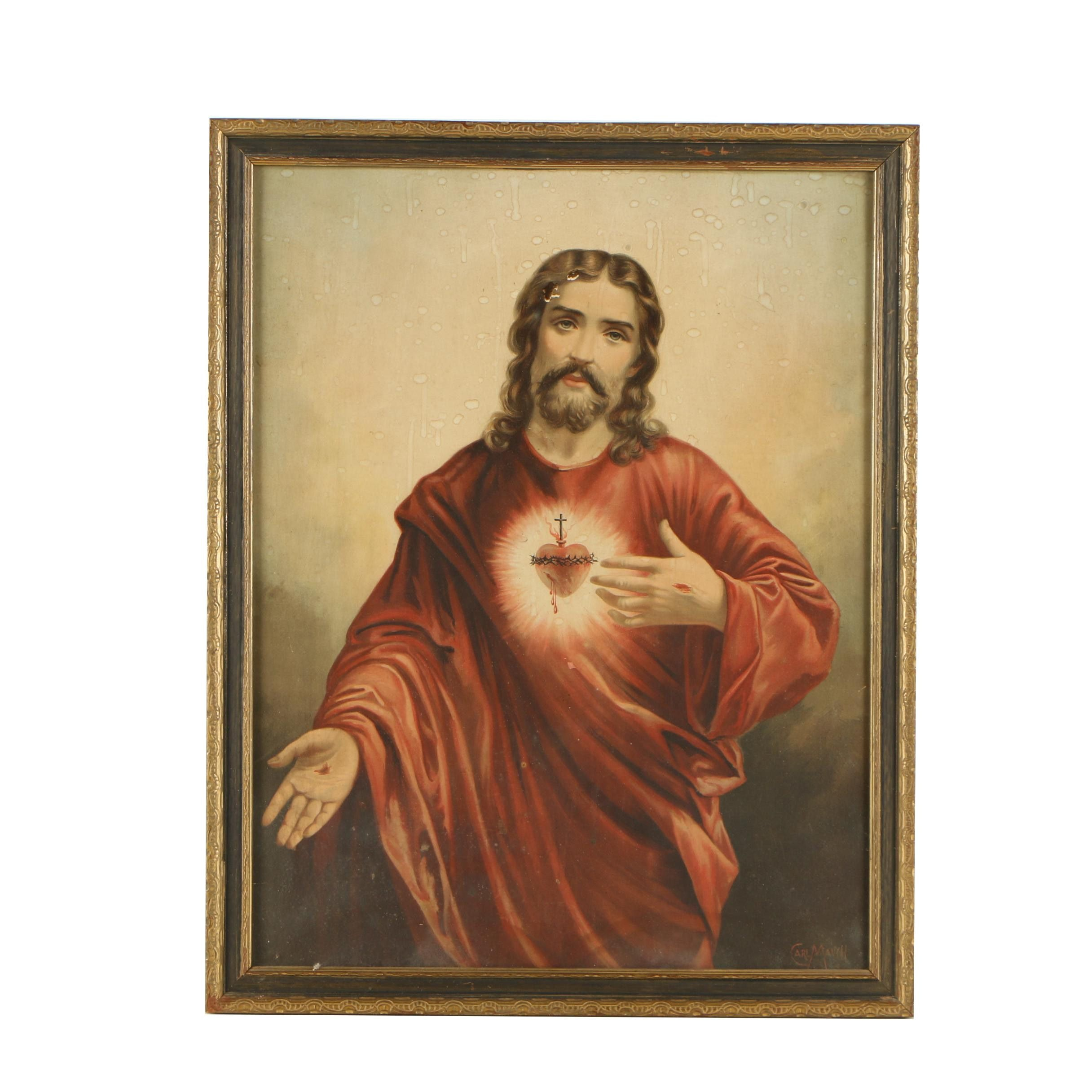 """Chromolithograph After Carl Mauch """"Sacred Heart of Jesus"""""""