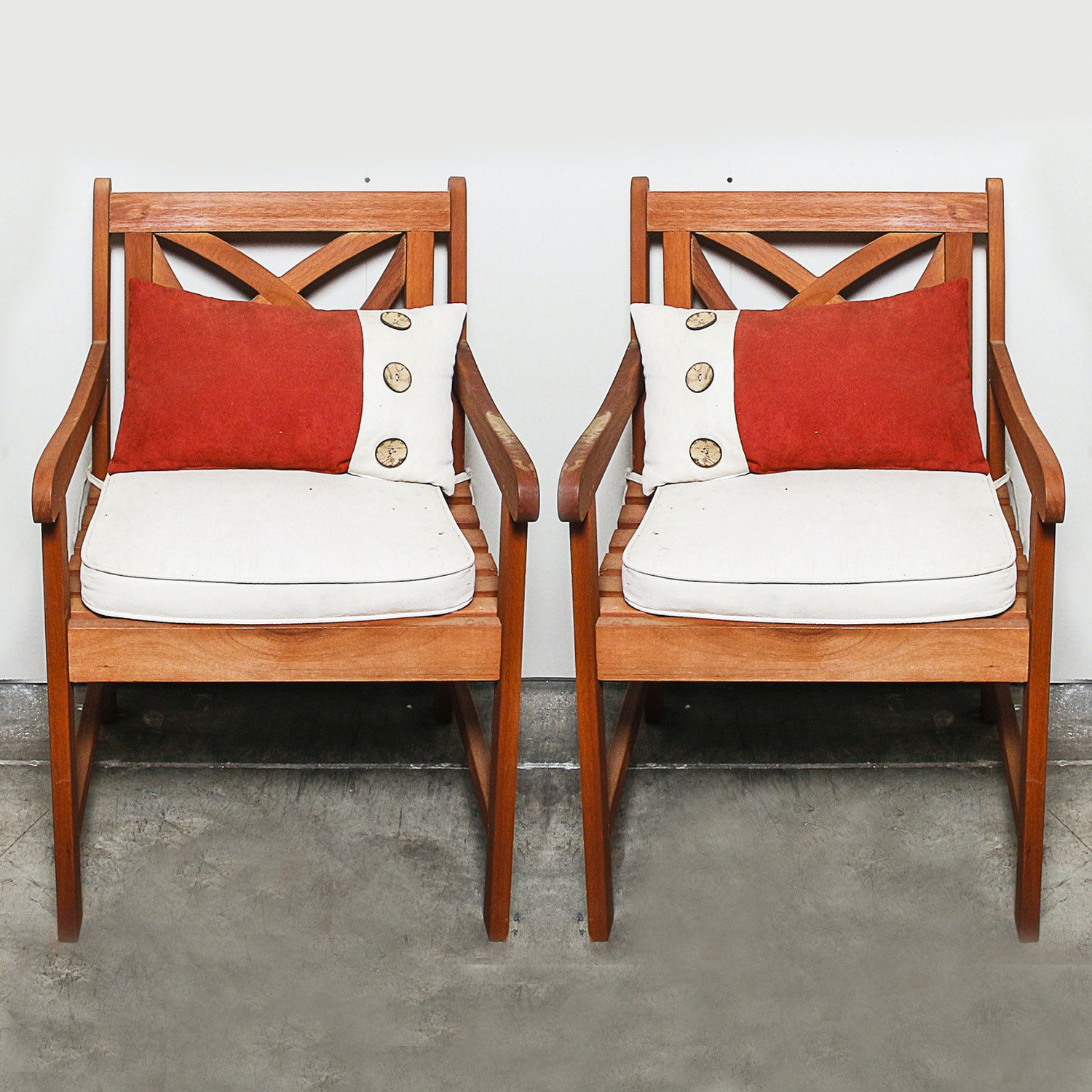 Pierced Back Wooden Armchair Pair