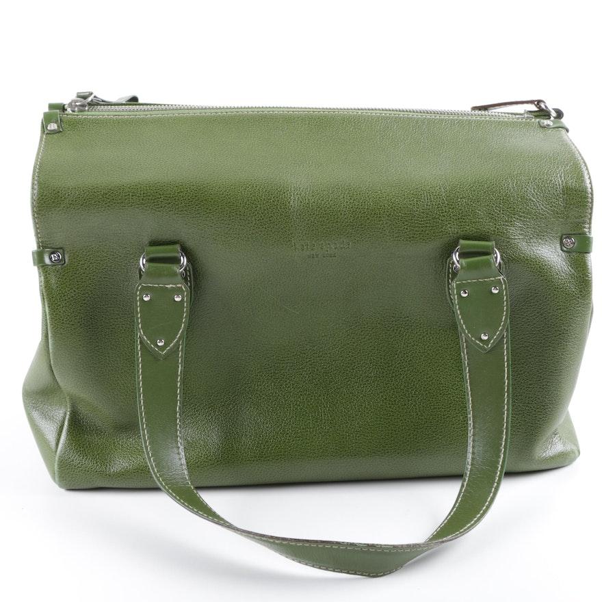 Vintage Kate Spade New York Olive Green Leather Doctor Bag