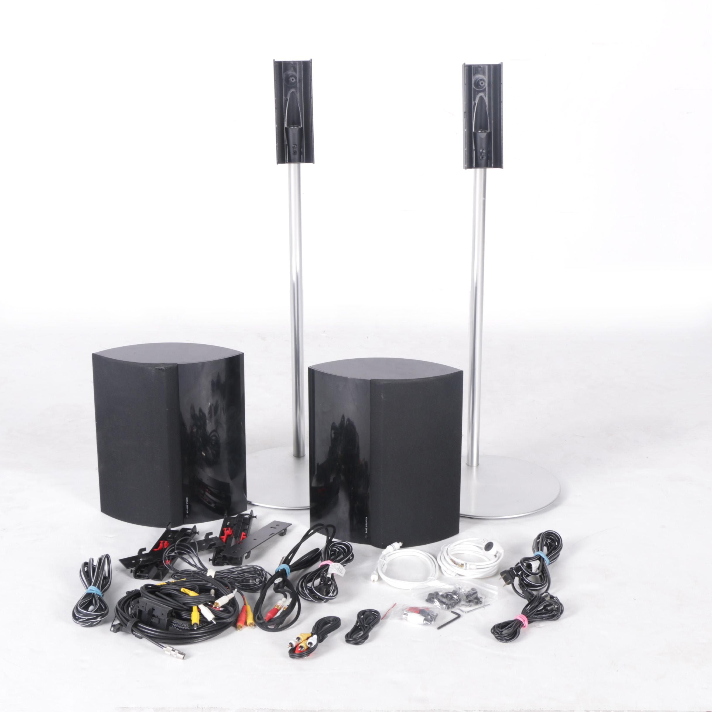 Bang & Olufsen Speakers with Stands and Cords