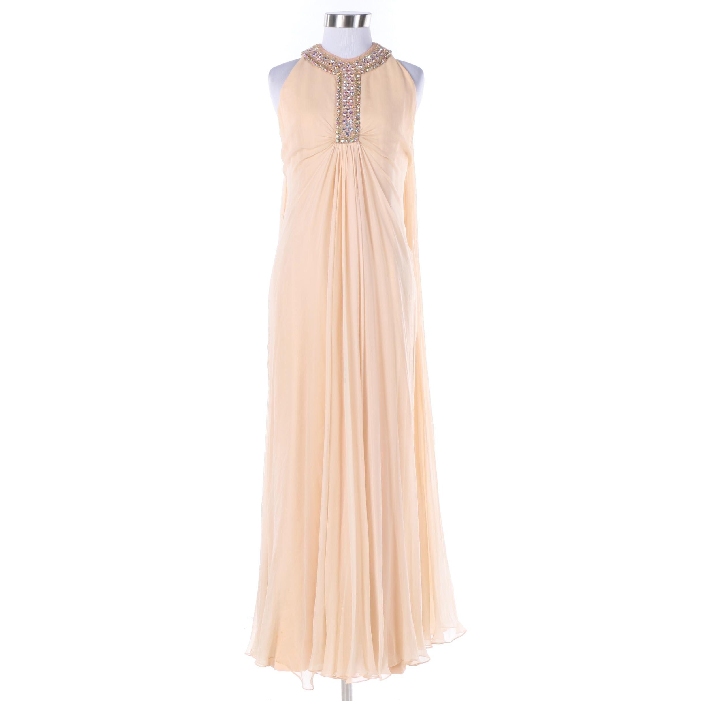 Circa 1970s Vintage Davidson's Indiana Pink Crepe Chiffon Evening Gown