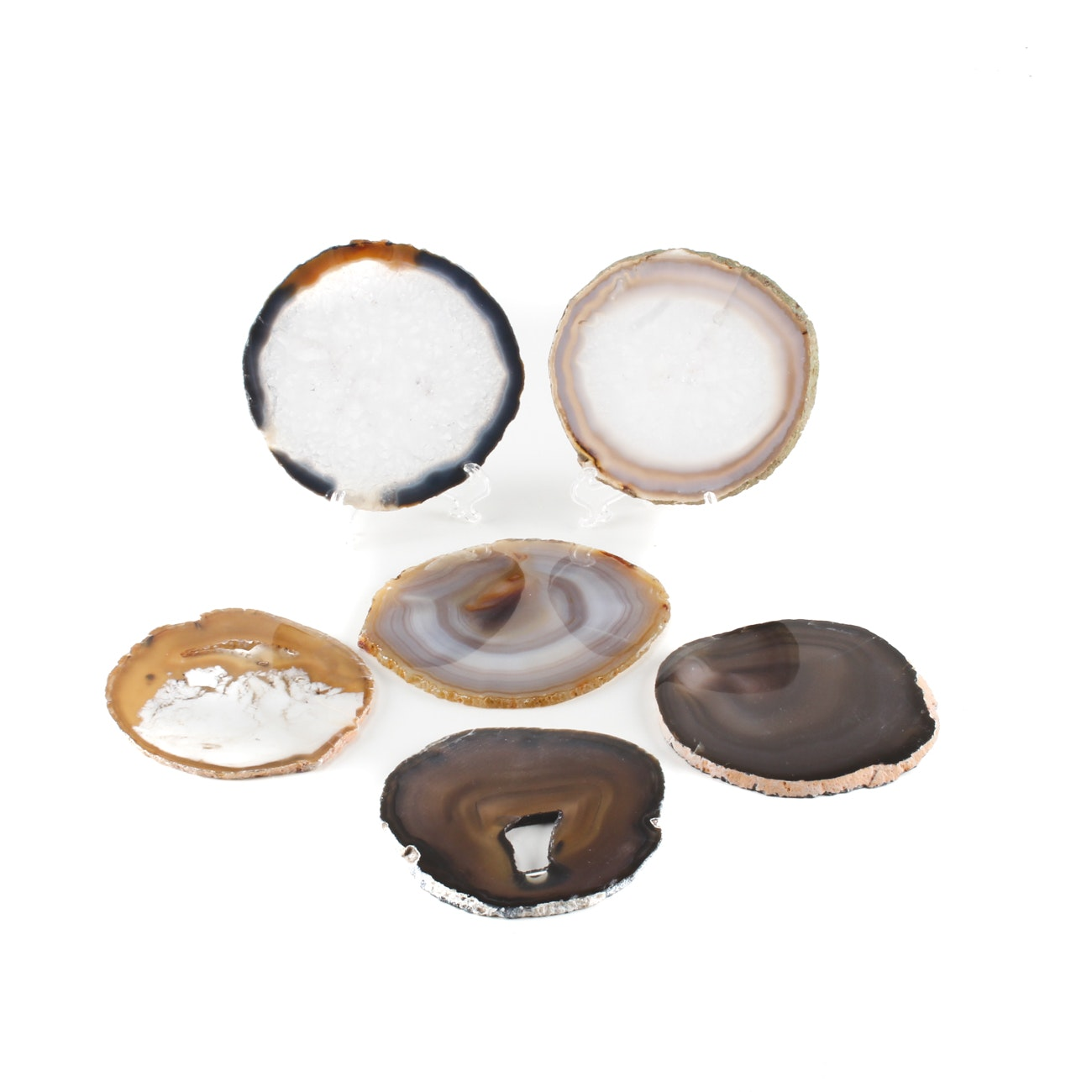 Collection of Six Agate and Quartz Geode Cross-Sections