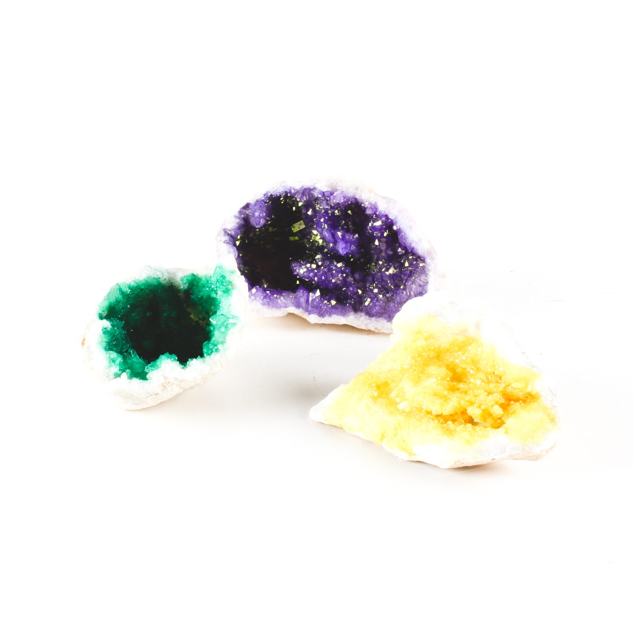Collection of Three Dyed Iridescent Quartz Crystal Moroccan Geodes