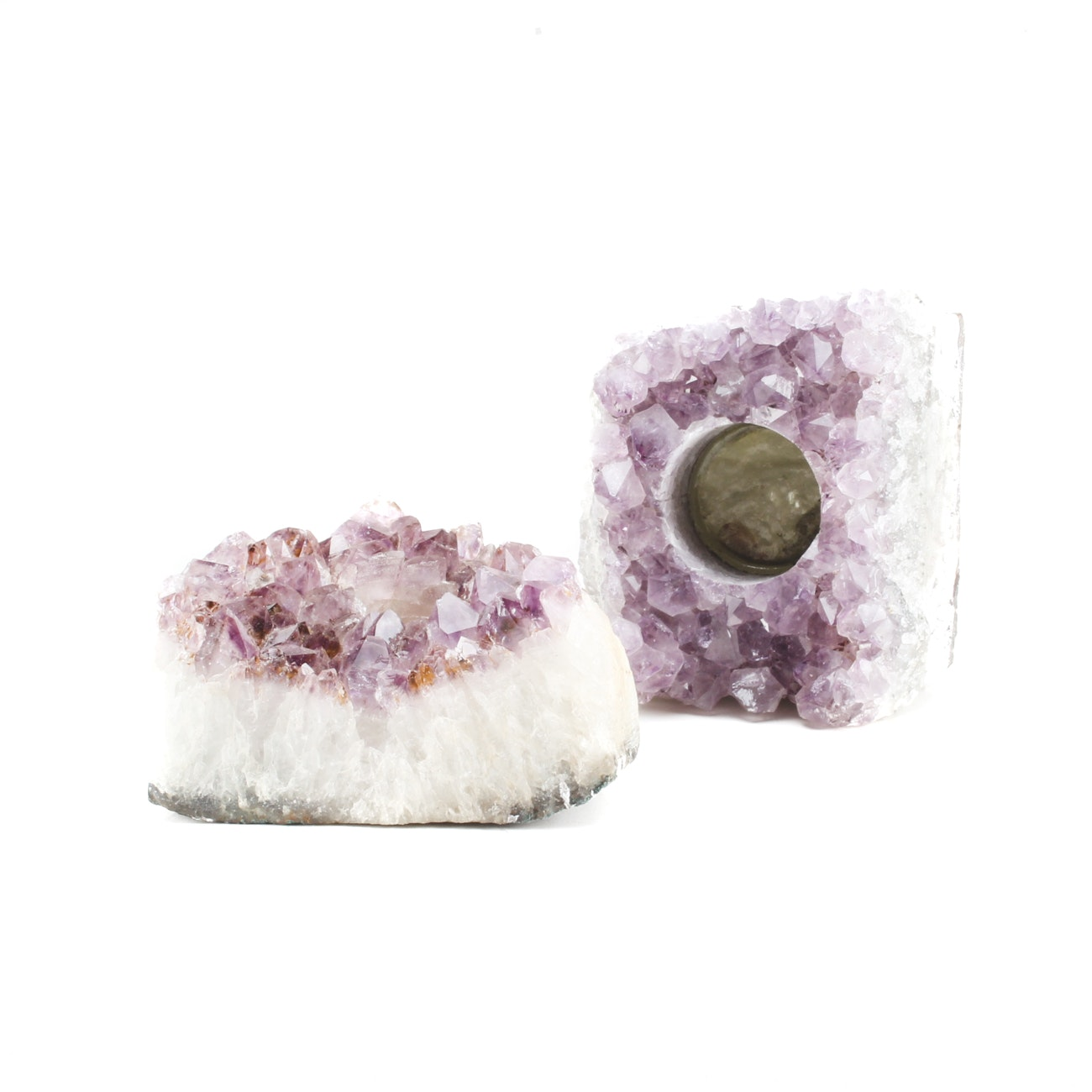 Pair of Amethyst and Quartz Geode Candle Holders