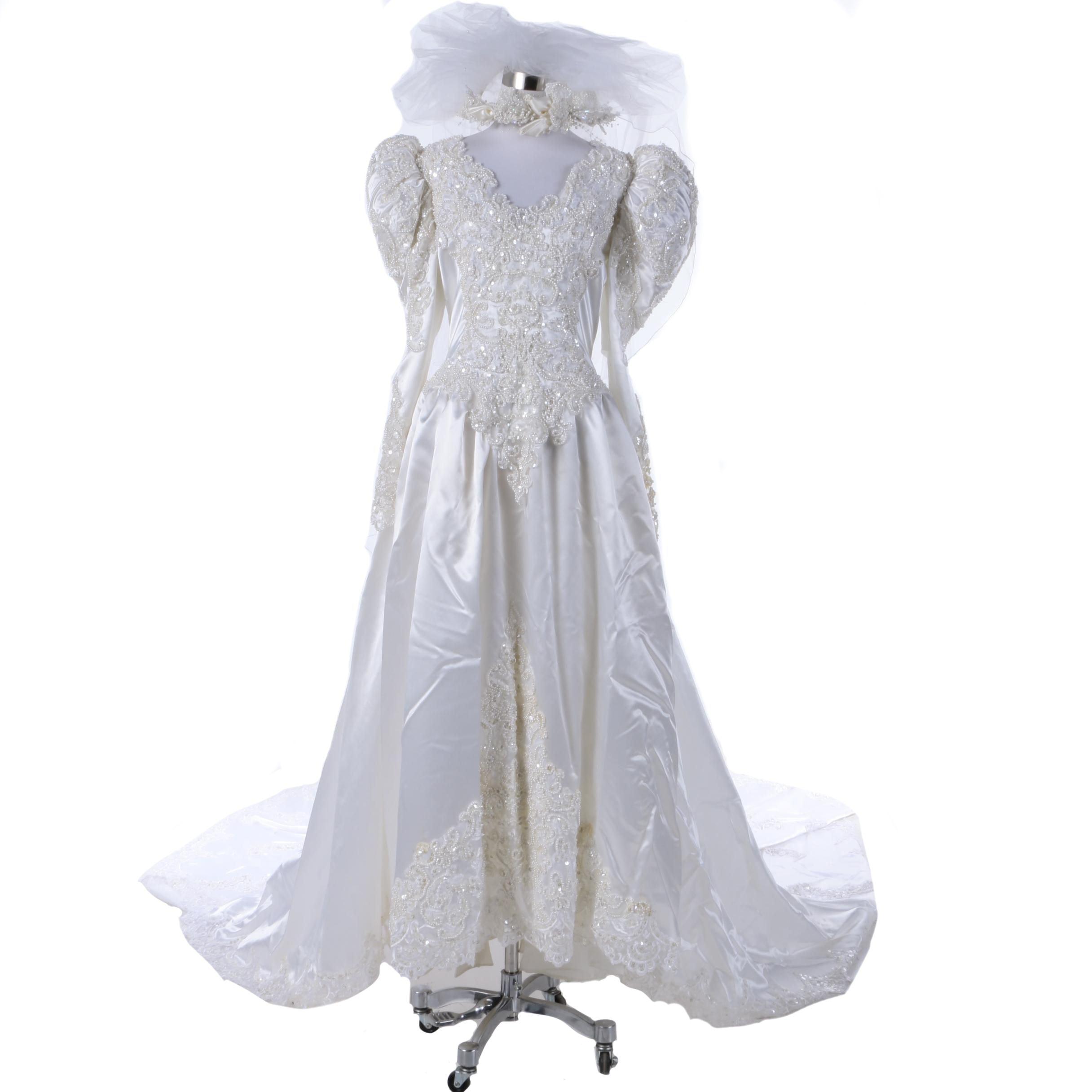 Circa 1980s Demitrios Wedding Gown and Veil