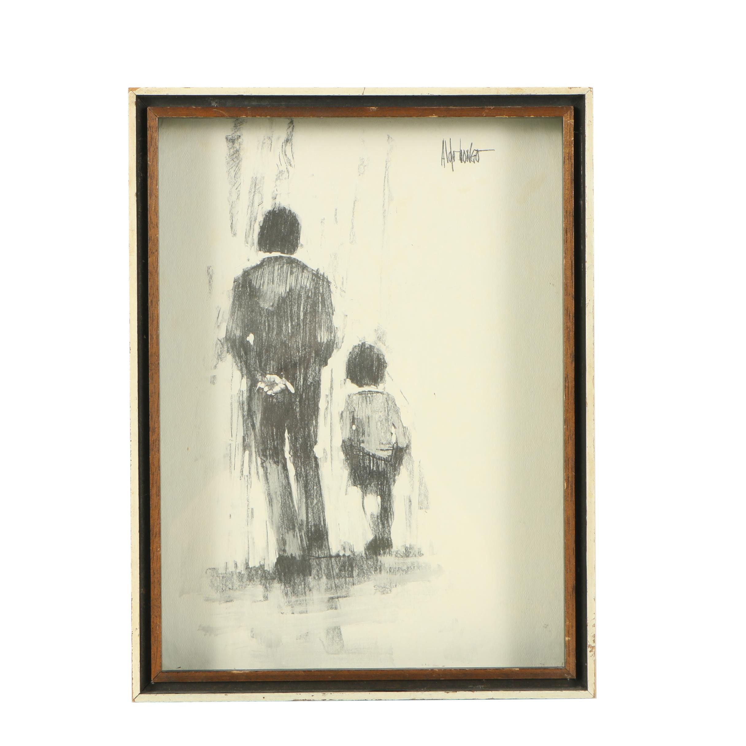 Aldo Luongo Halftone Print of Father with Child