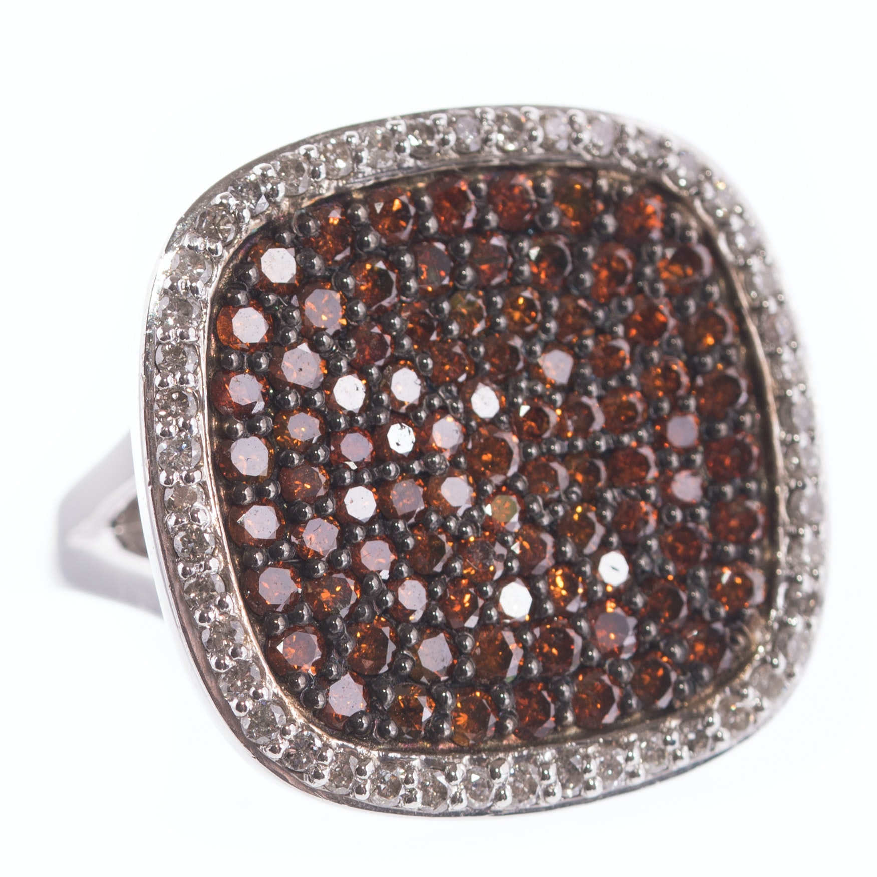 Sterling Silver and 2.00 CTW Diamond and Orange Diamond Cluster Ring