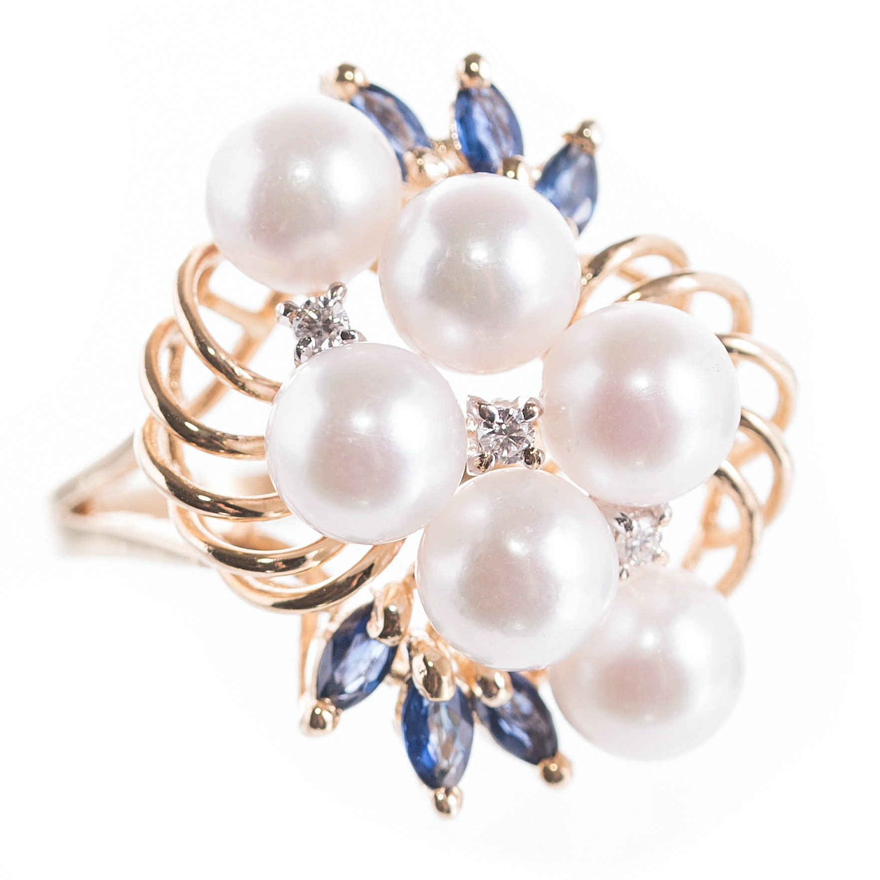 14K Yellow Gold, Cultured Pearl, Sapphire, and Diamond Swirl Ring