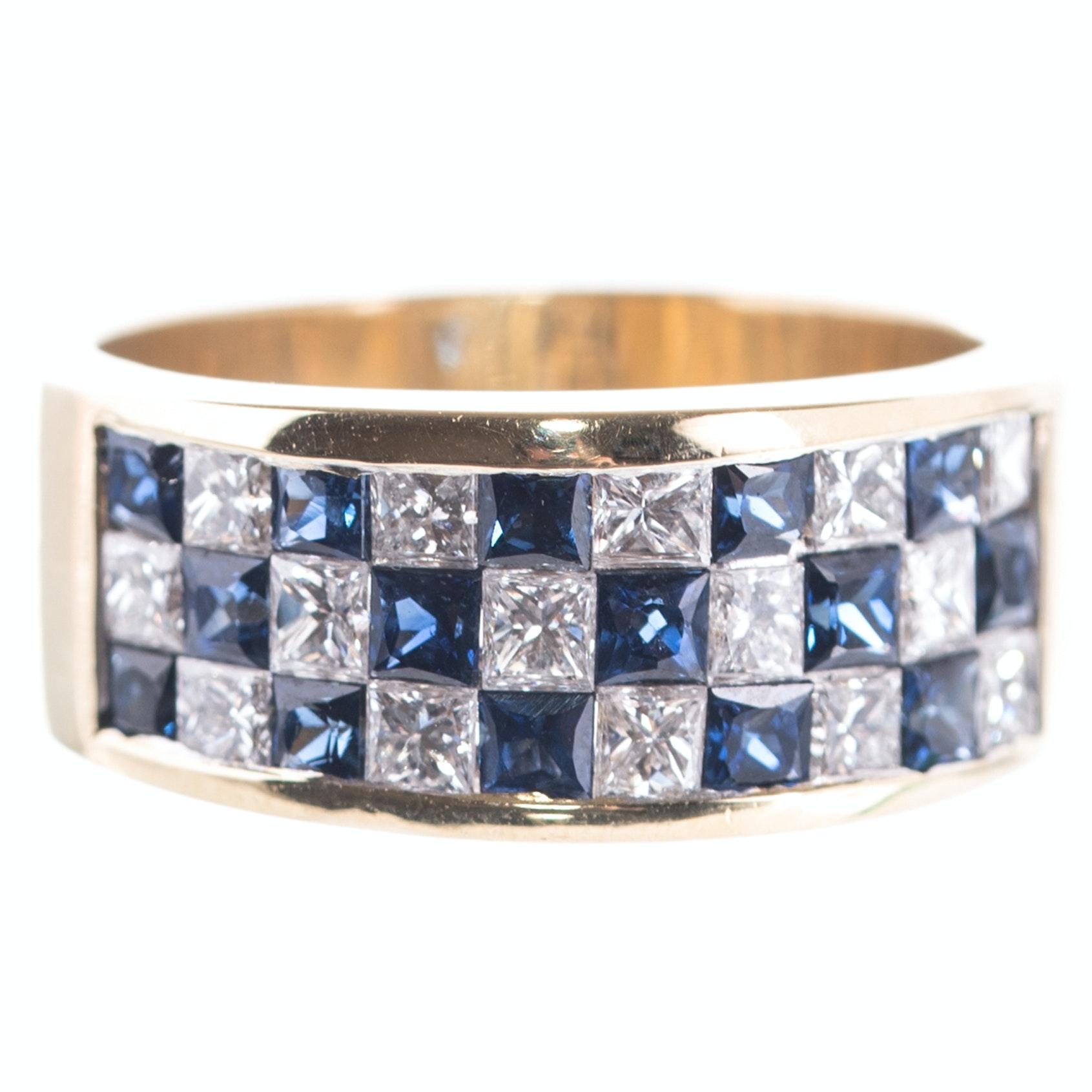 18K Yellow Gold, 1.05 CTW Diamond, and Sapphire Ring