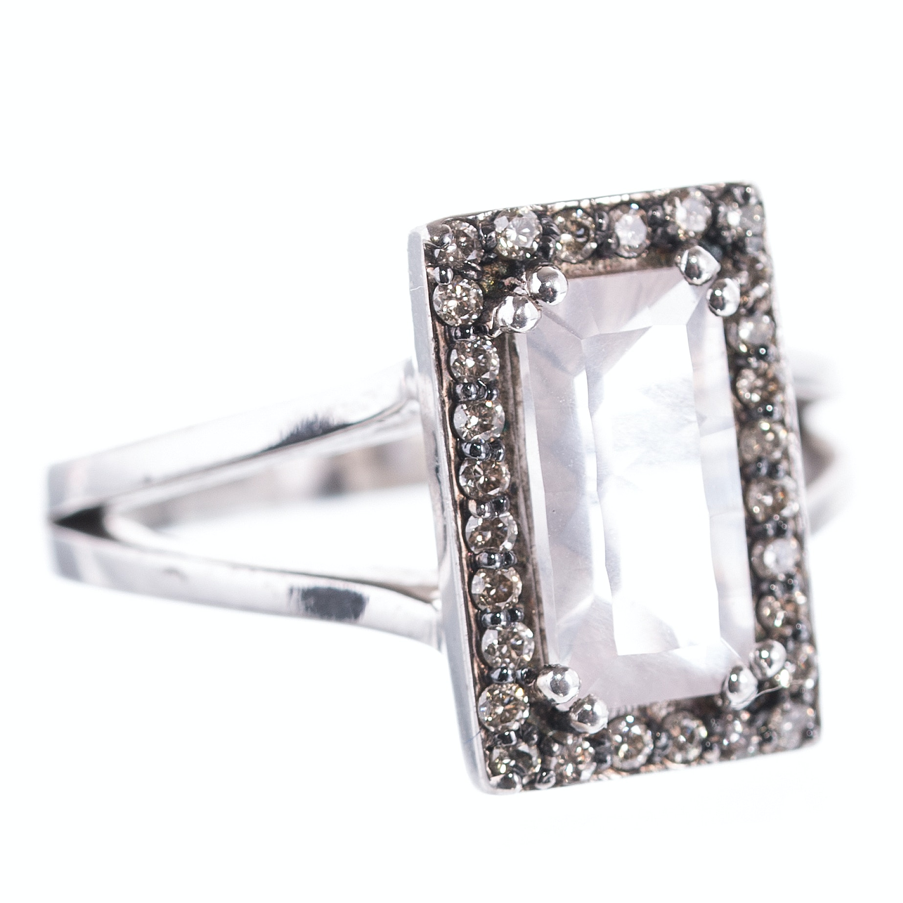 Sterling Silver, 1.35 CT Quartz, and Diamond Halo Ring