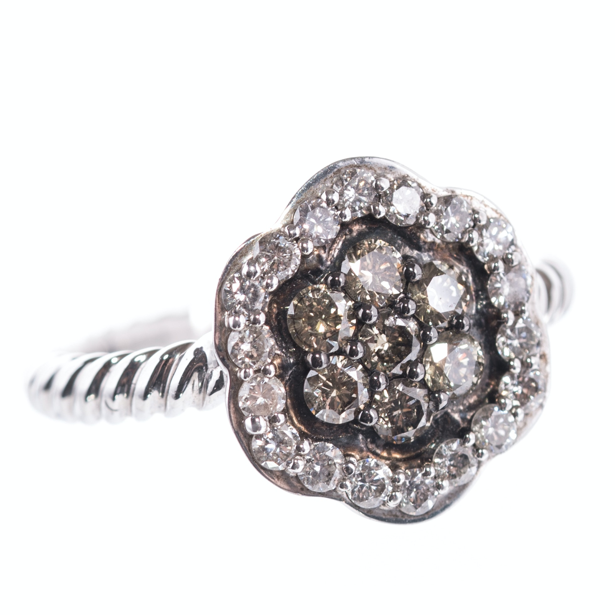 Sterling Silver and Diamond Flower Ring