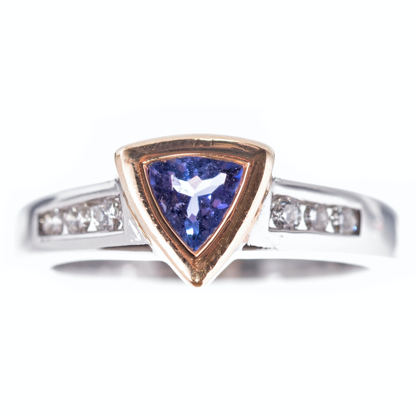 14K White Gold, Tanzanite, and Diamond Ring
