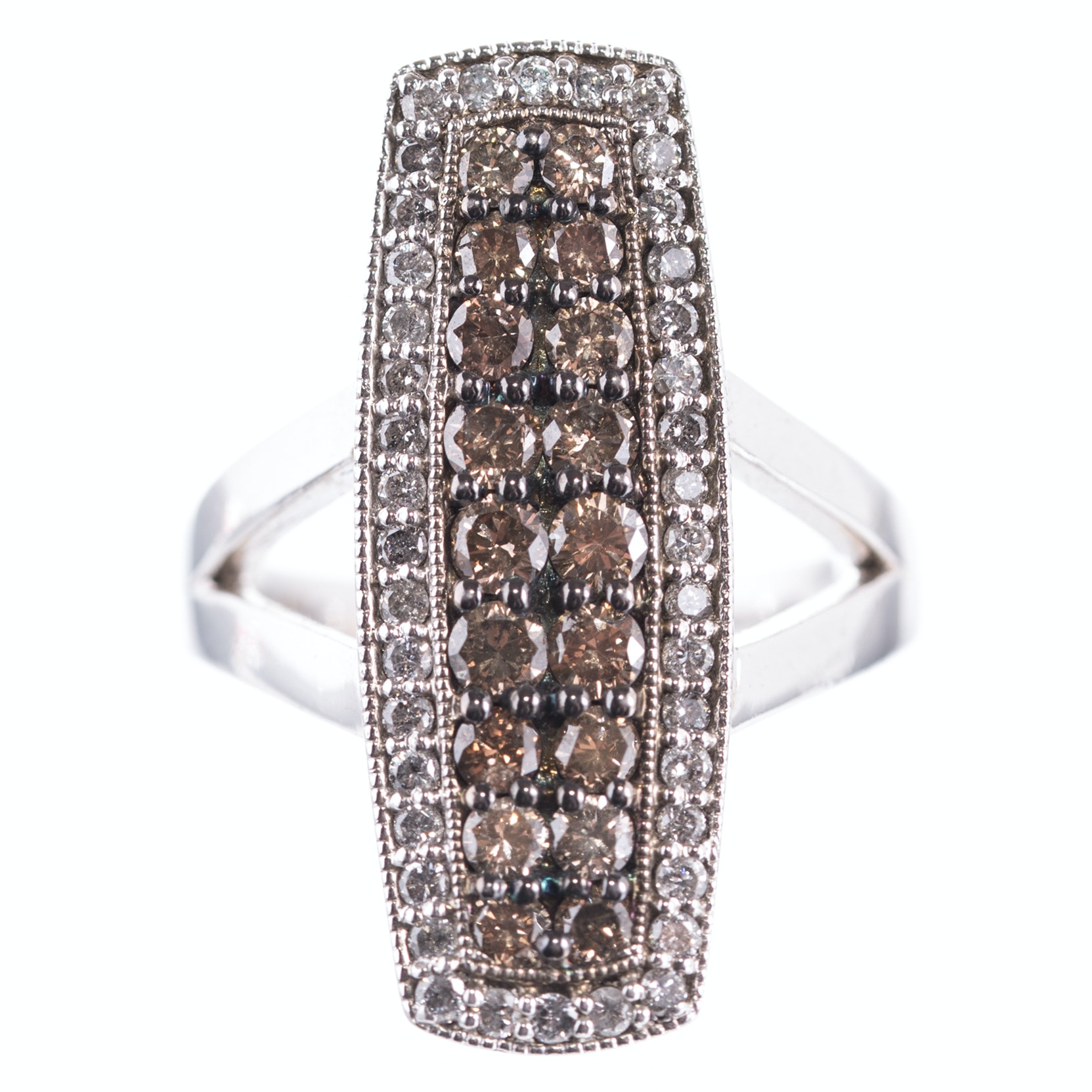 Sterling Silver and 1.70 CTW Diamond and Brown Diamond Ring