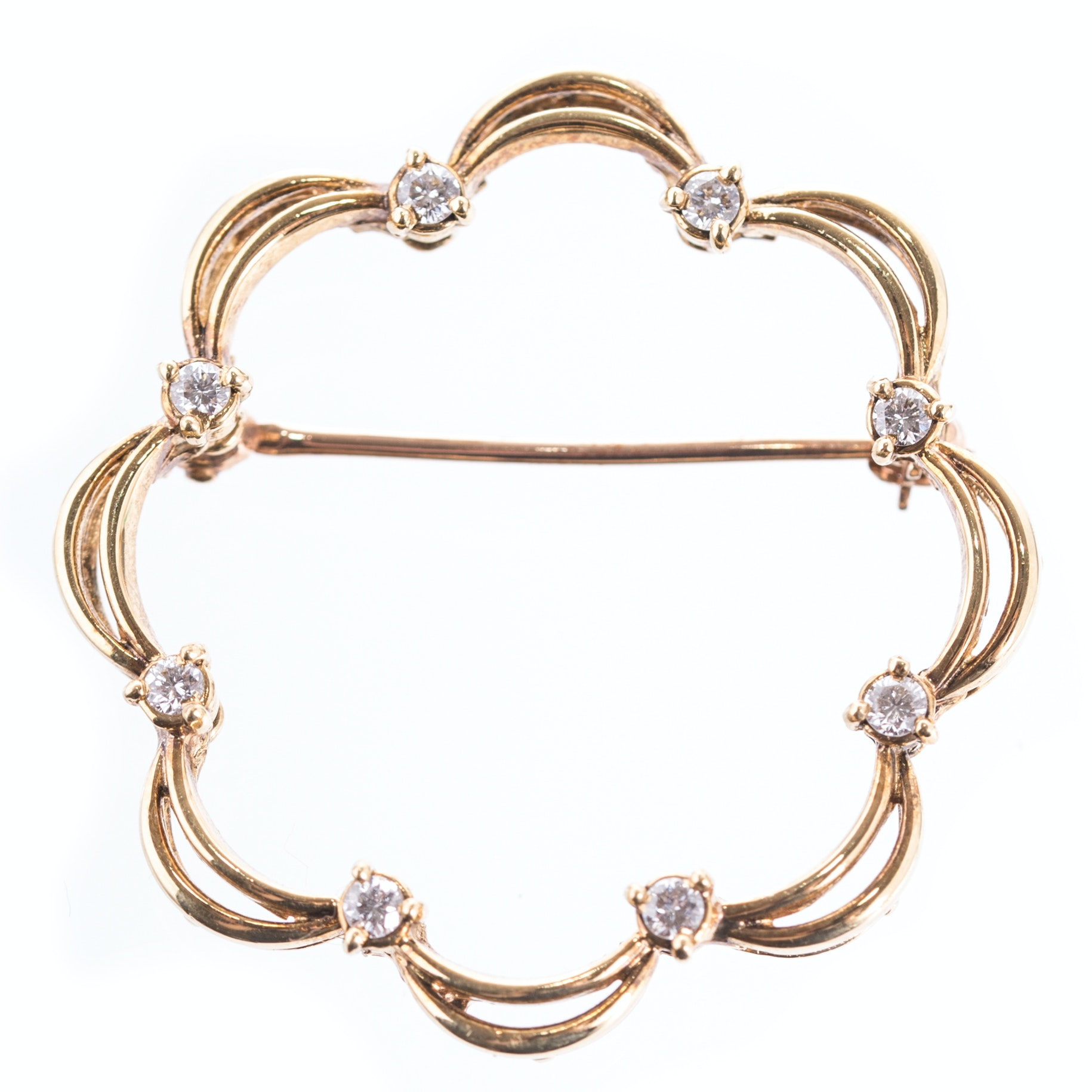 18K Yellow Gold and Diamond Open Curved Brooch