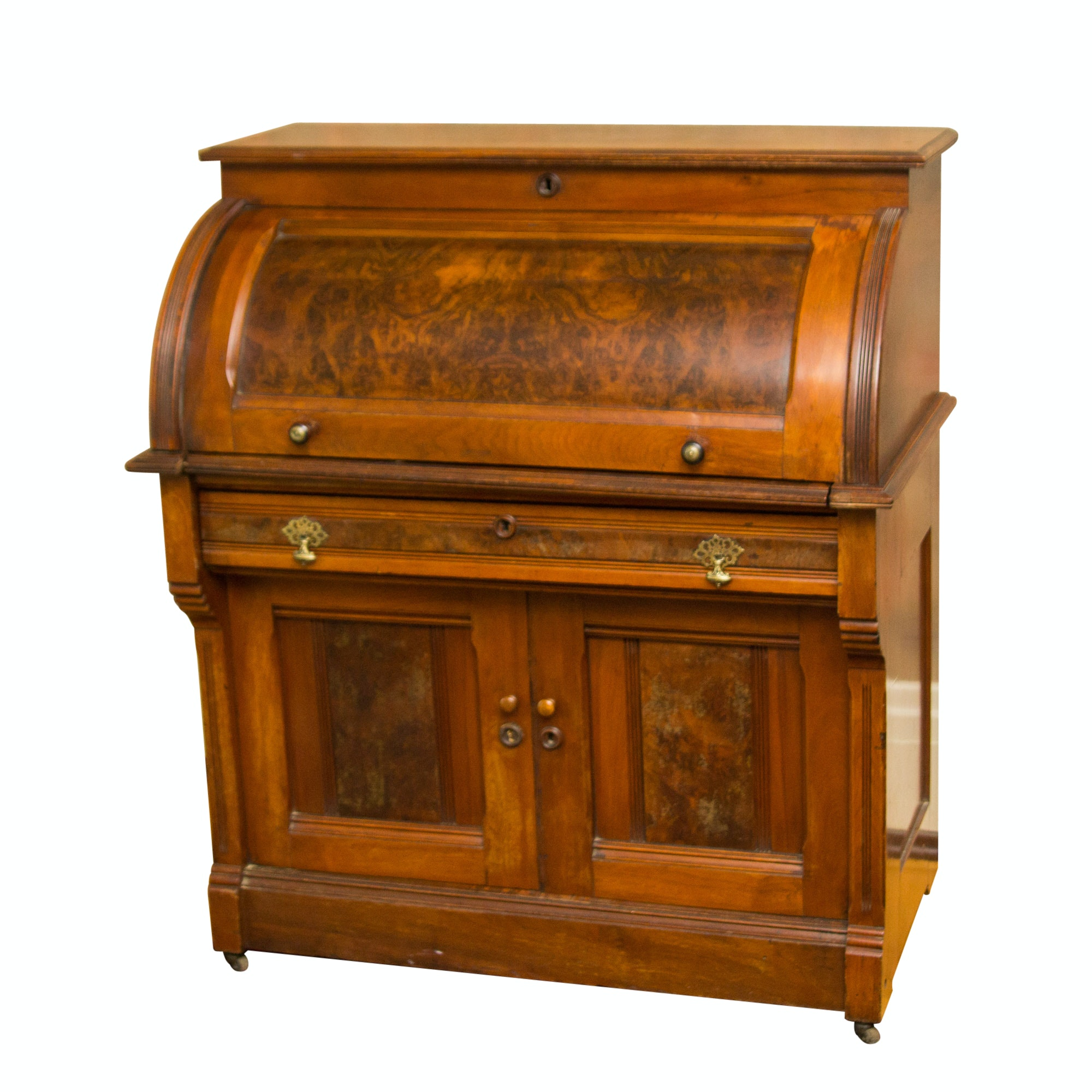 Antique Eastlake Walnut Cylinder Roll Top Desk