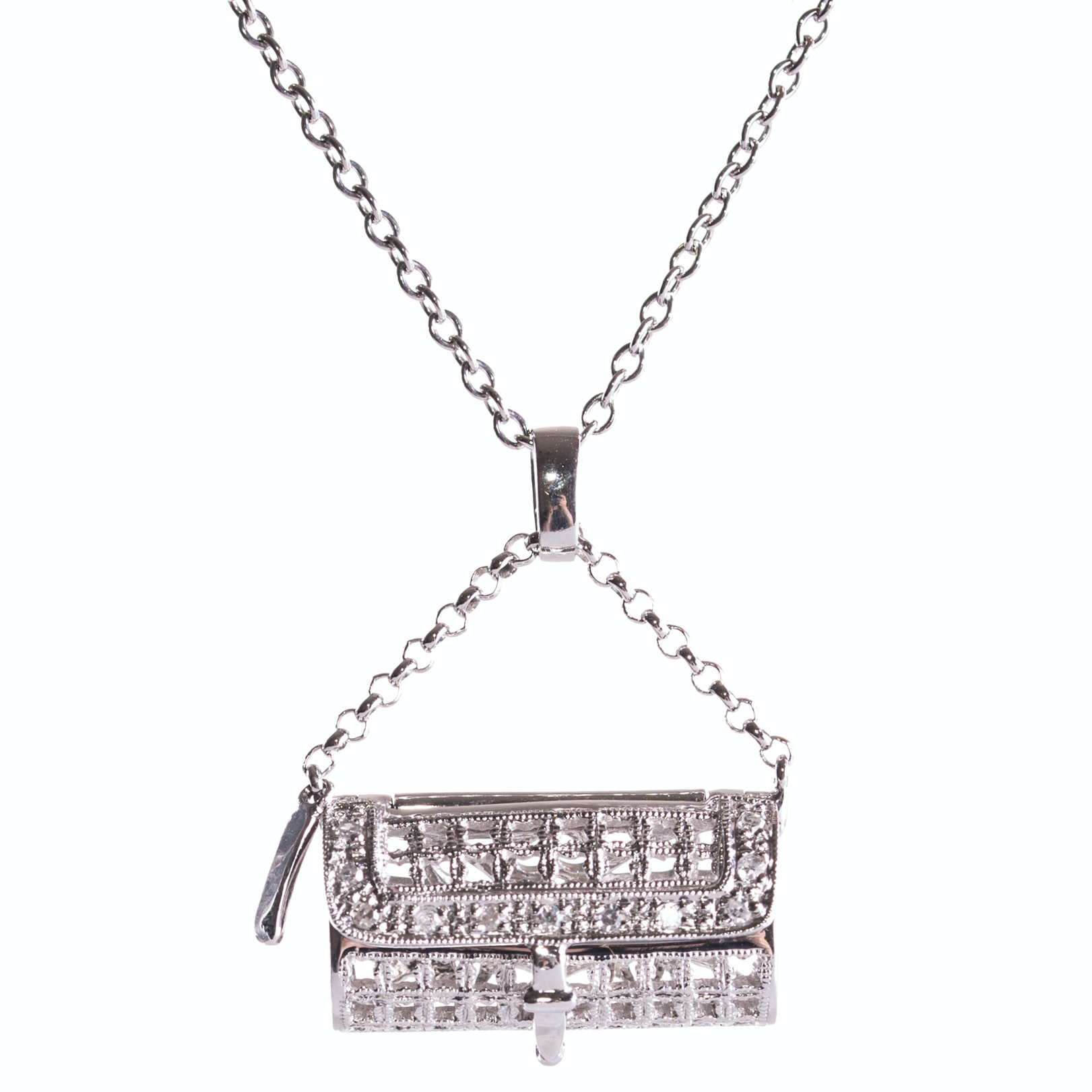 18K White Gold and Diamond Handbag Pendant Necklace