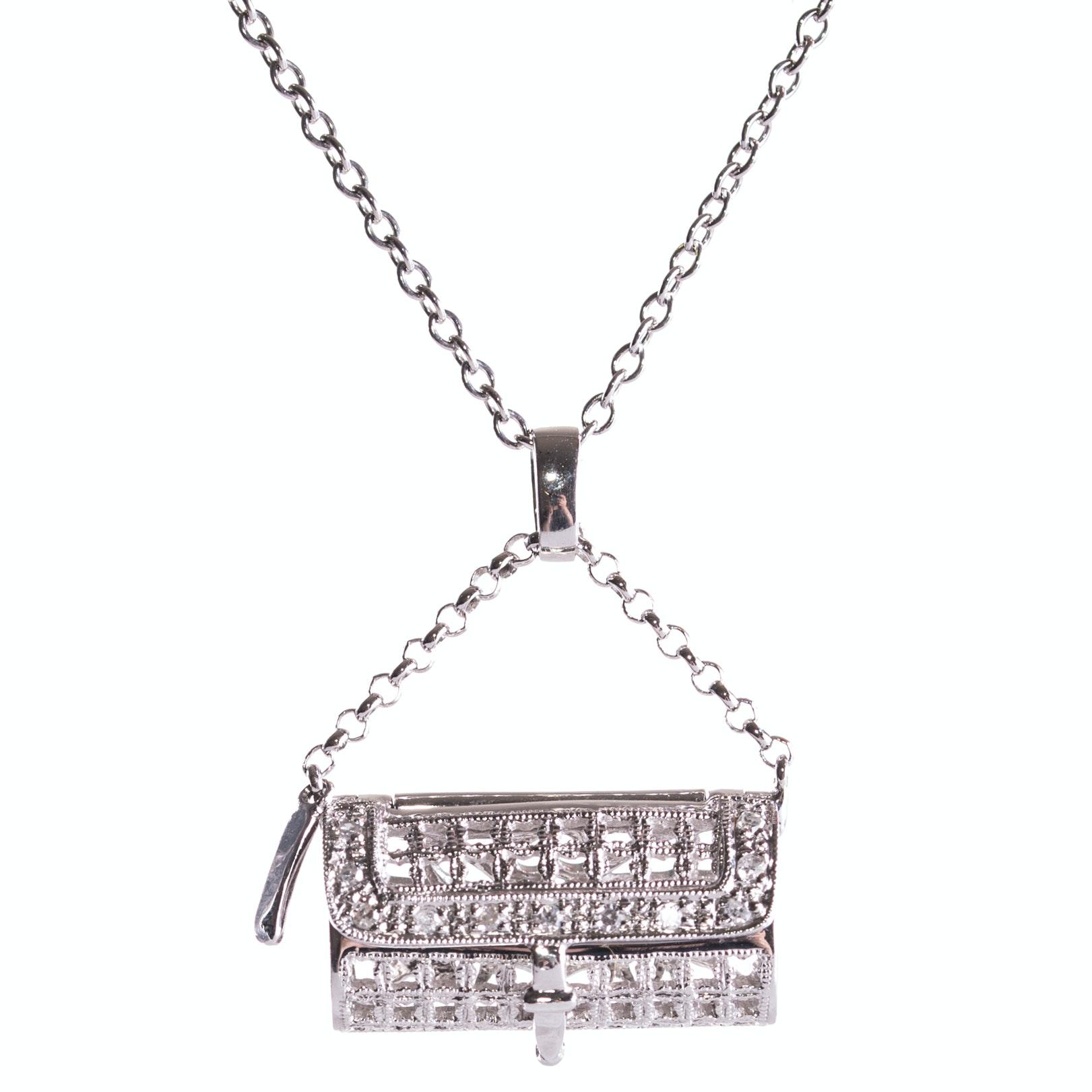 18K White Gold and Diamond Handbag Pendant Necklace