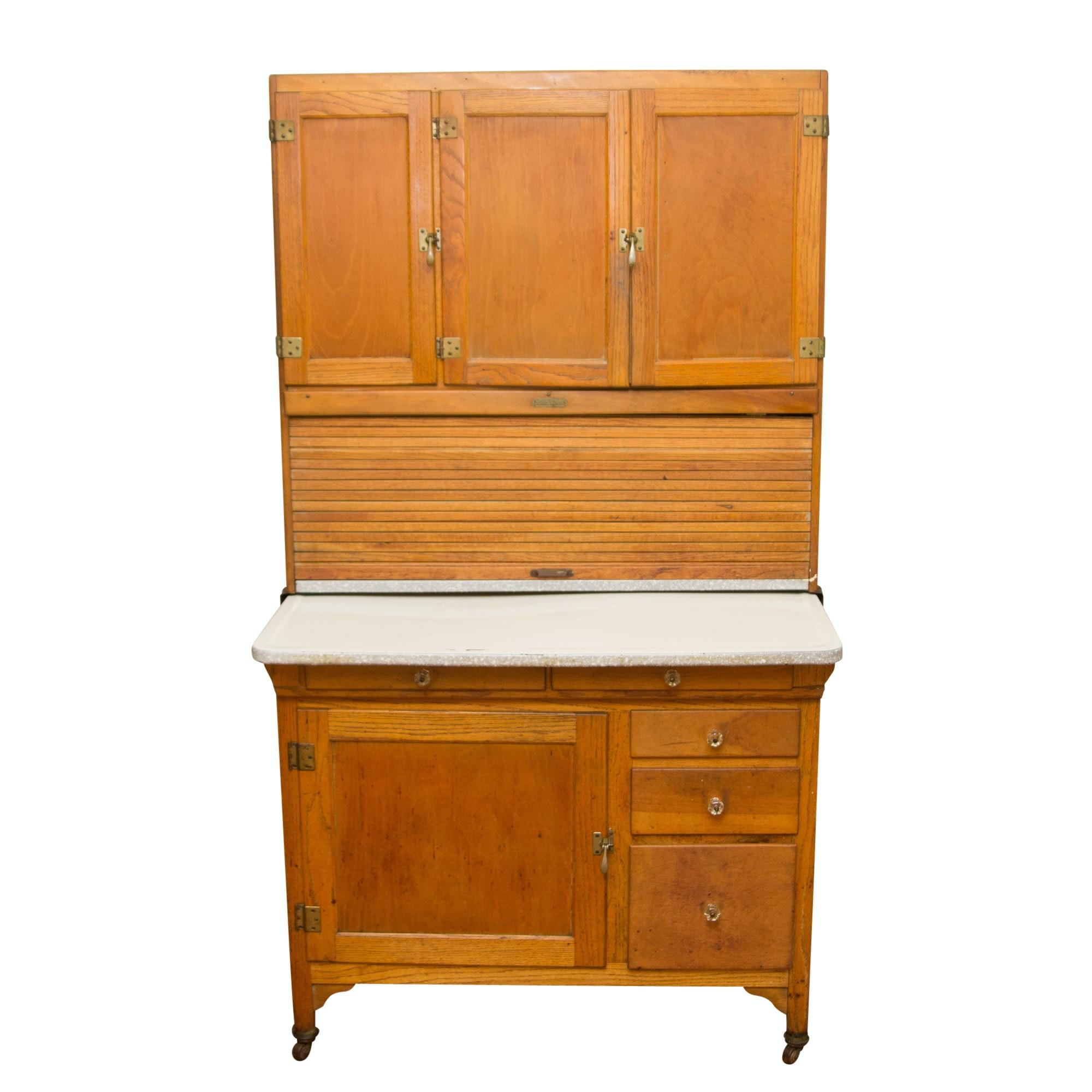 Vintage Oak Hoosier Style Kitchen Cabinet by Sellers