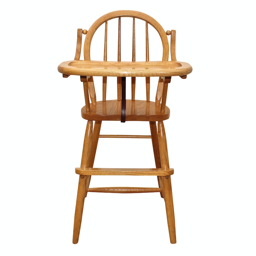 Traditional Amish Oak Wooden Highchair
