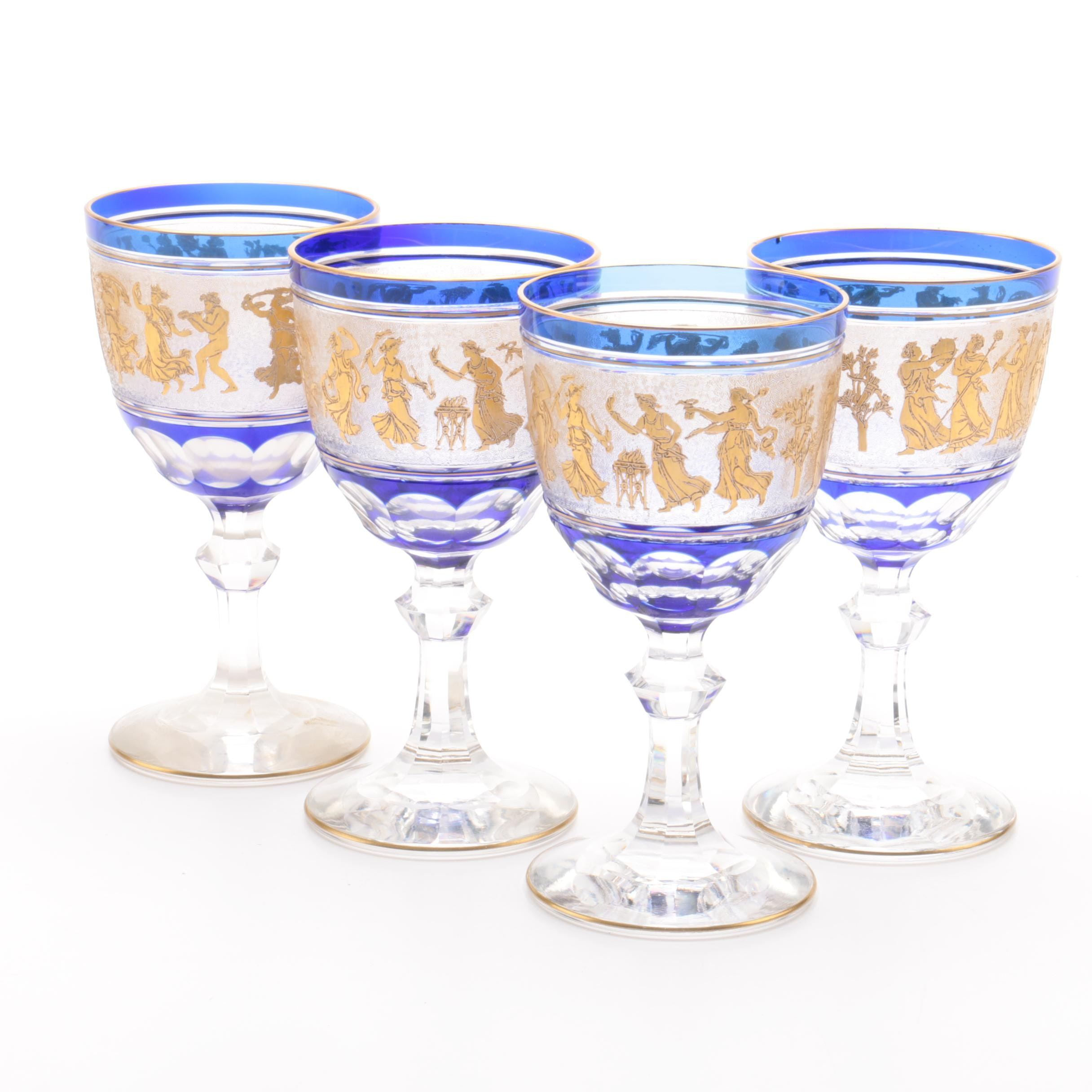 Neoclassical Flashed Cobalt and Gilt Cut Crystal Goblets