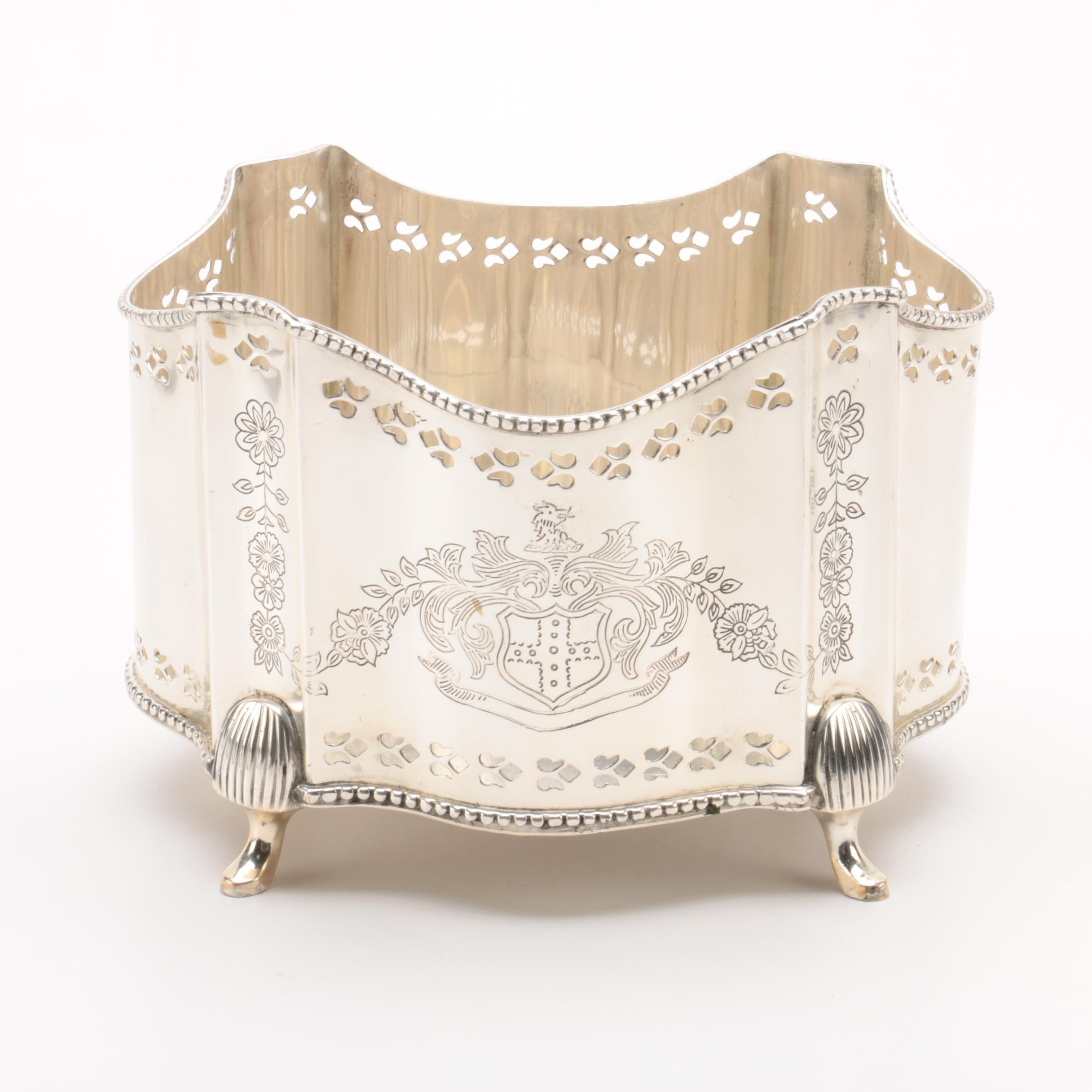 Silver Plate Footed Container with Embossed Floral Detailing