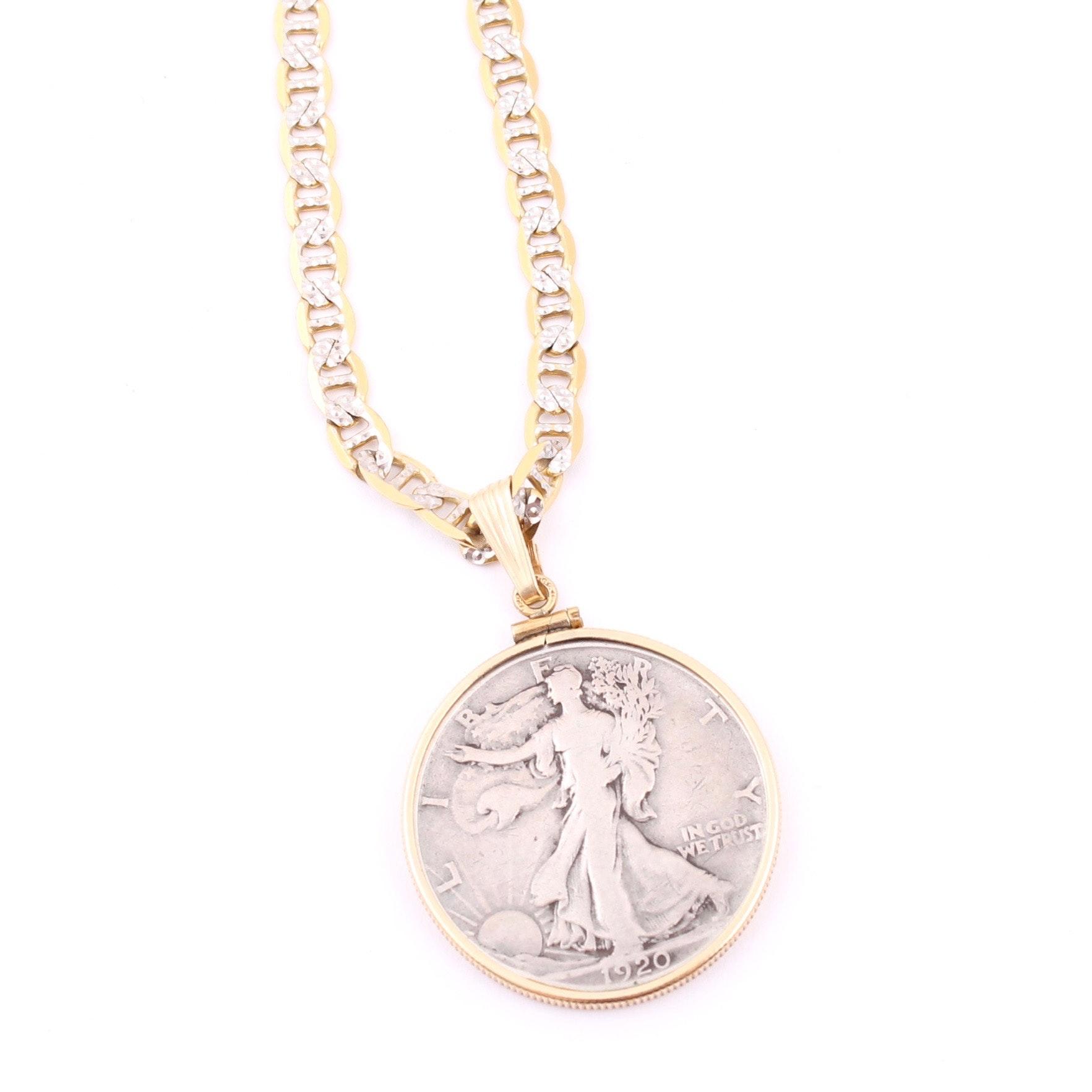 1920 Liberty Silver Half Dollar Pendant on 10K Bicolor Gold Chain