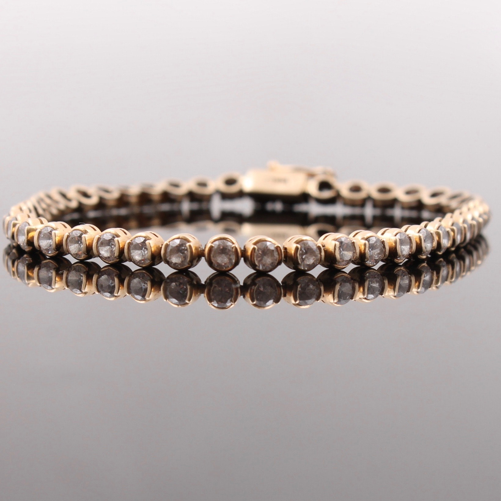 14K Yellow Gold White Sapphire Tennis Bracelet