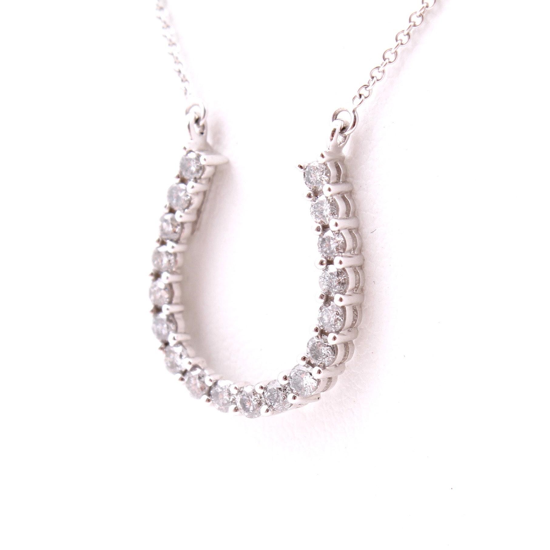 14K White Gold 1.00 CTW Diamond Horseshoe Necklace